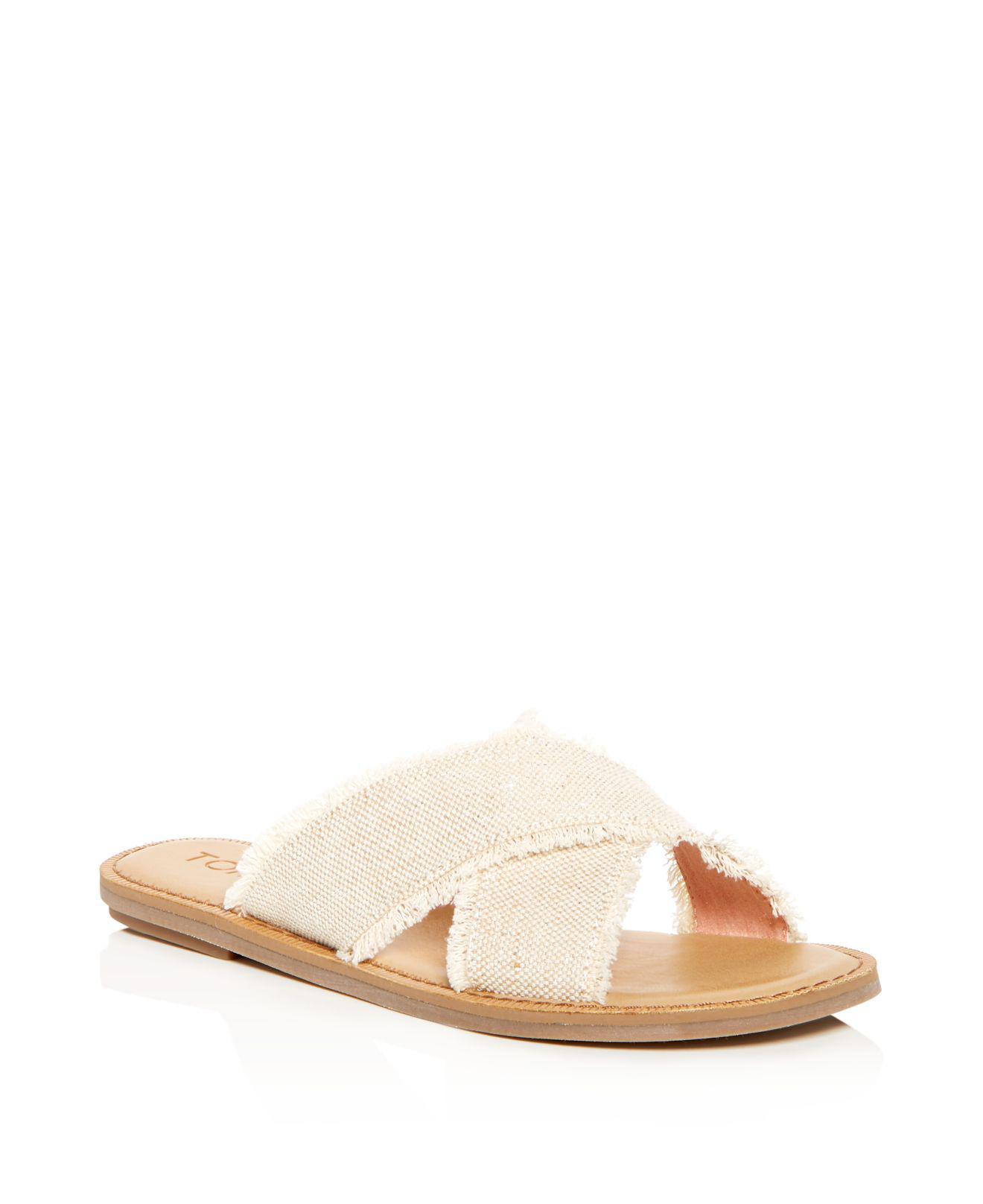 My7xdTaMGW Womens Viv Leather Crisscross Slide Sandals Oq39P