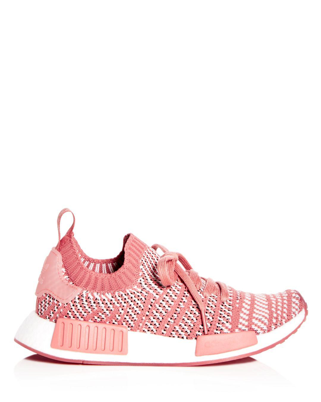 d95cc35f8e0c Lyst - adidas Women s Nmd R1 Knit Lace Up Sneakers in Pink