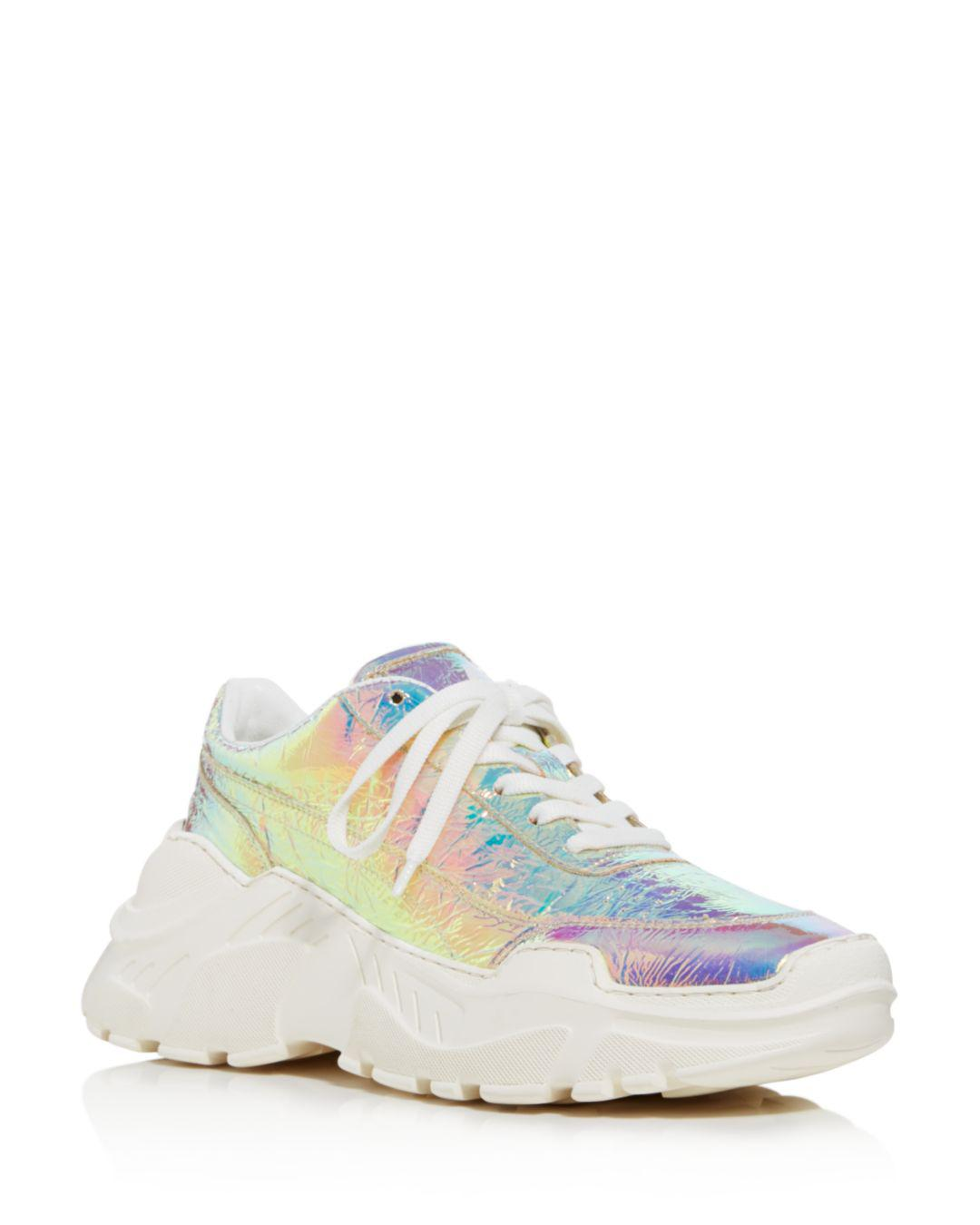 24813def7366 Lyst - Joshua Sanders Women s Leather   Holographic Foil Lace Up ...
