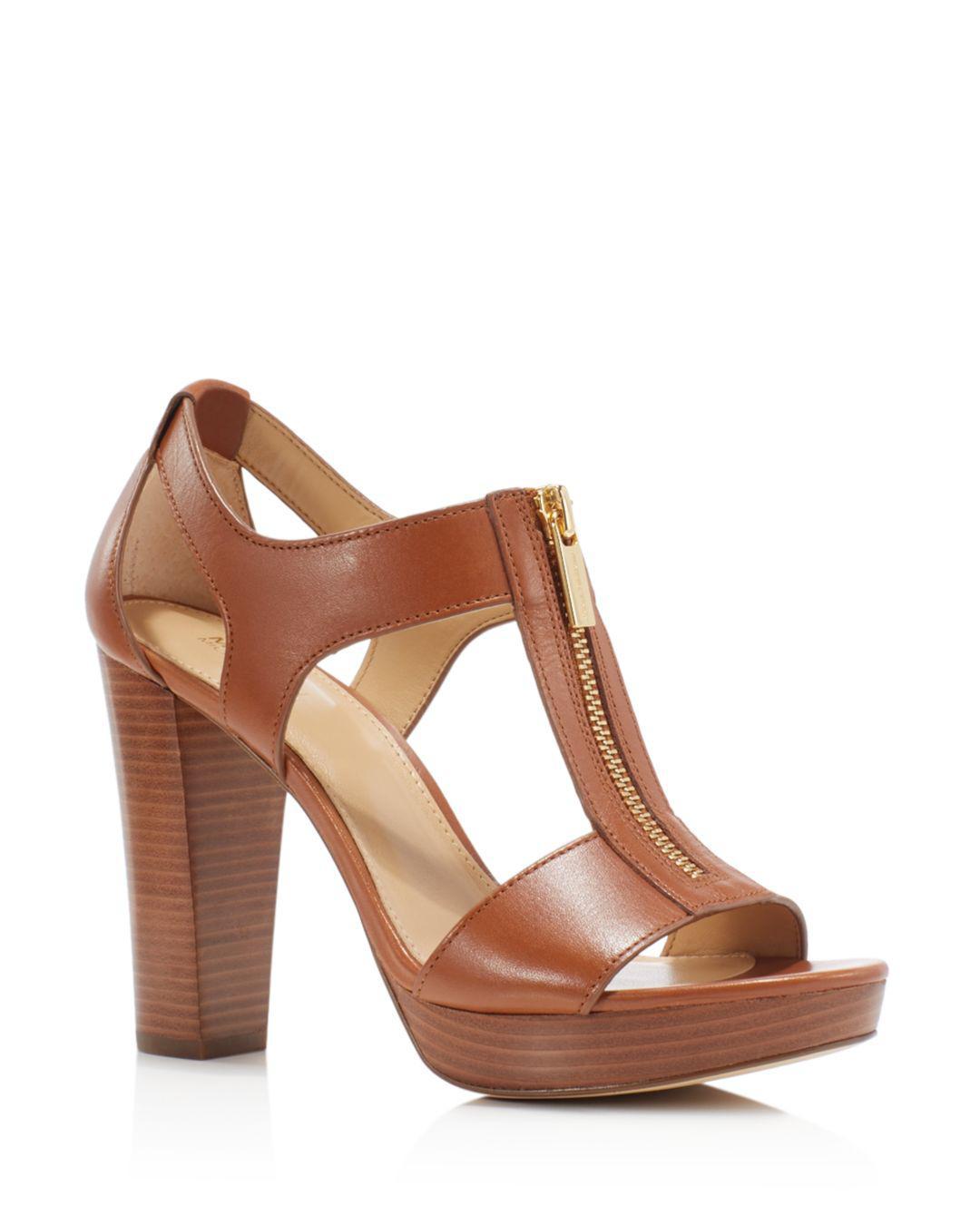 b134450c09 MICHAEL Michael Kors. Women's Brown Berkley Zipper Platform High-heel  Sandals