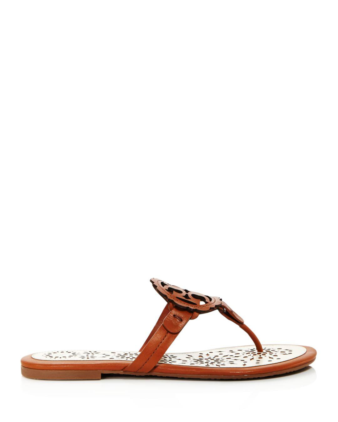 fc05b7eac36c Lyst - Tory Burch Women s Miller Scallop Leather Thong Sandals in Brown