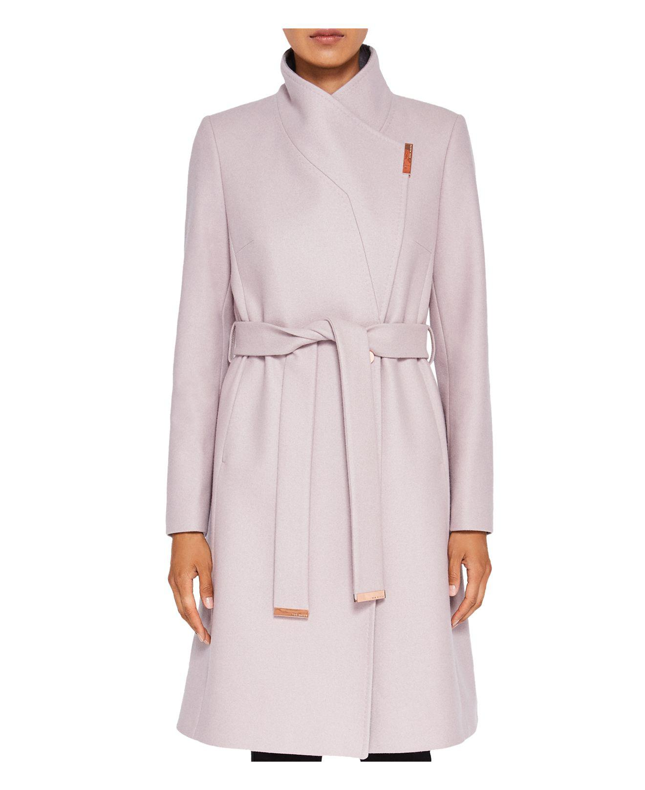 Lyst Ted Baker Wool Cashmere Wrap Coat In Pink