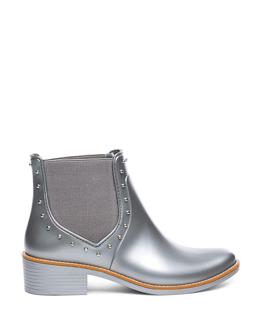 4b939b24ebb1a3 Bernardo Peyton Studded Rubber Rain Ankle Boots in Gray - Lyst