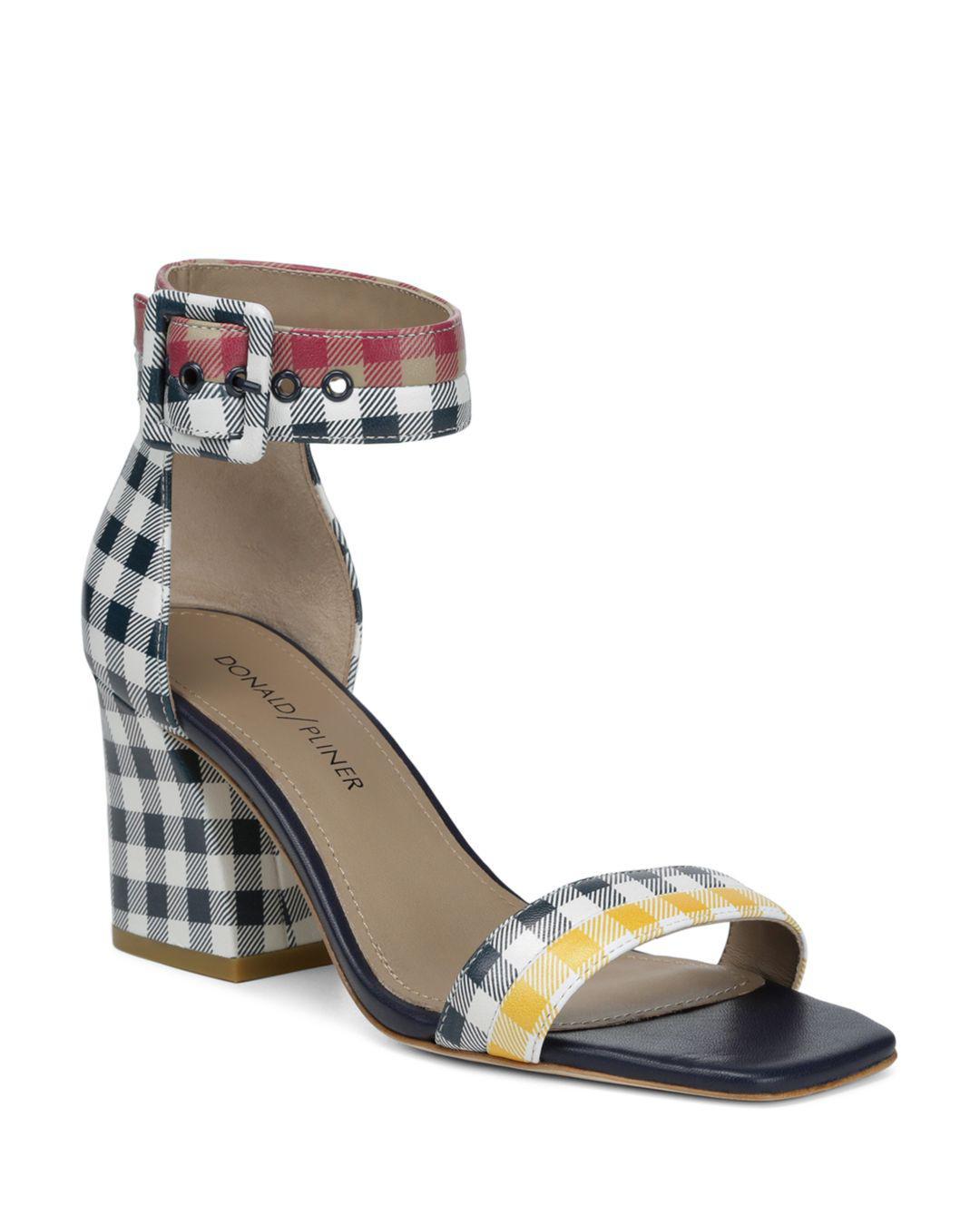 e7b68ec849a Donald J Pliner. Blue Women s Watson Gingham-print Color-block Leather Block  Heel Sandals