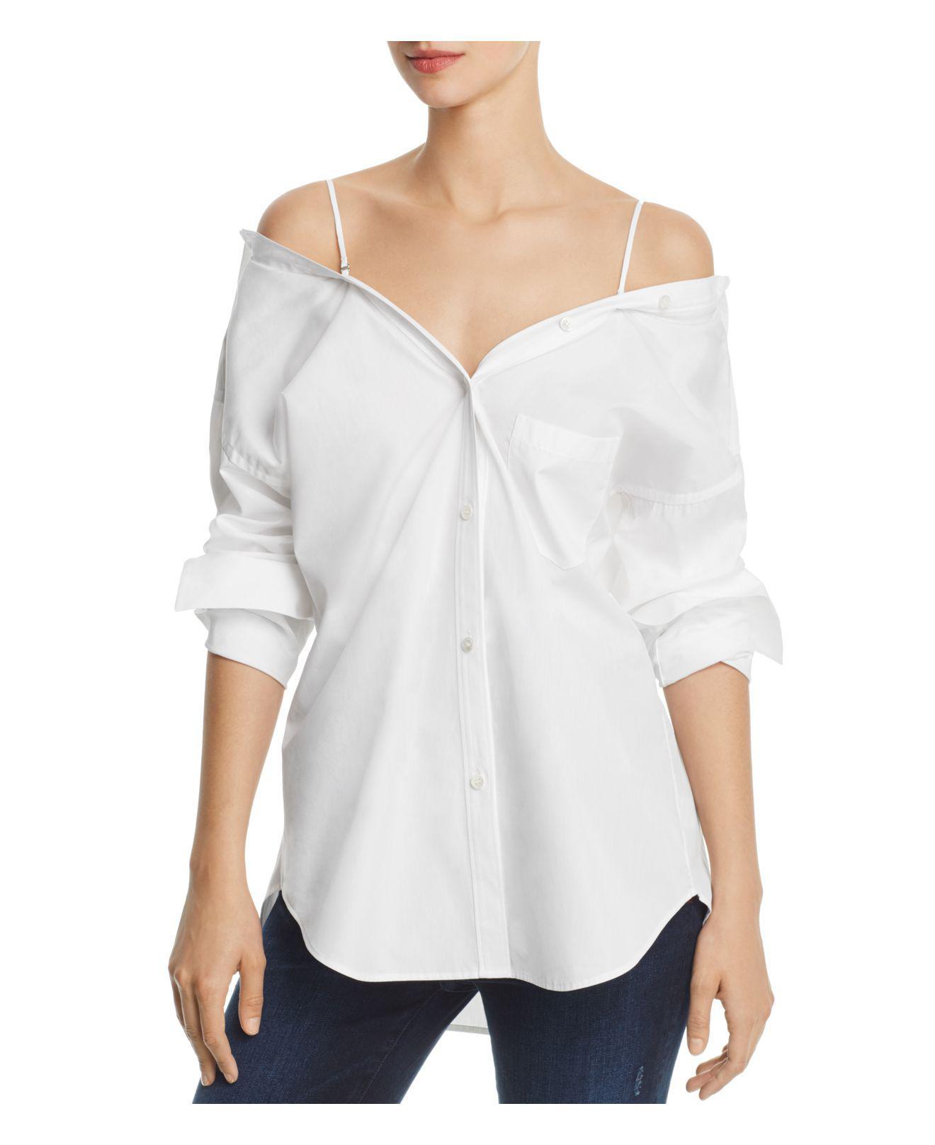 Theory. Women's White Tamalee Dalton Stripe Cold-shoulder Shirt