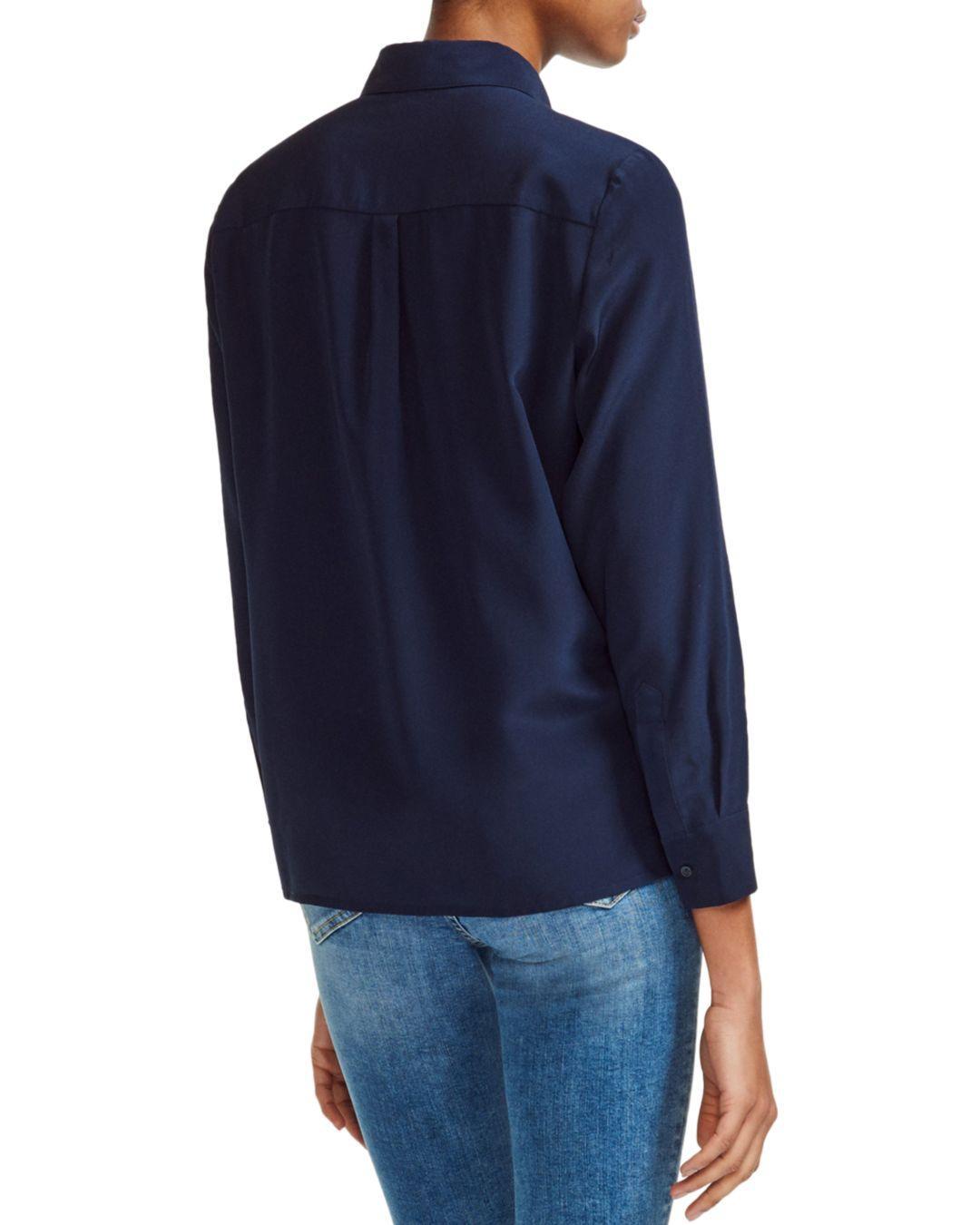 68a722706b9c7 Lyst - Maje Cela Silk Shirt in Blue