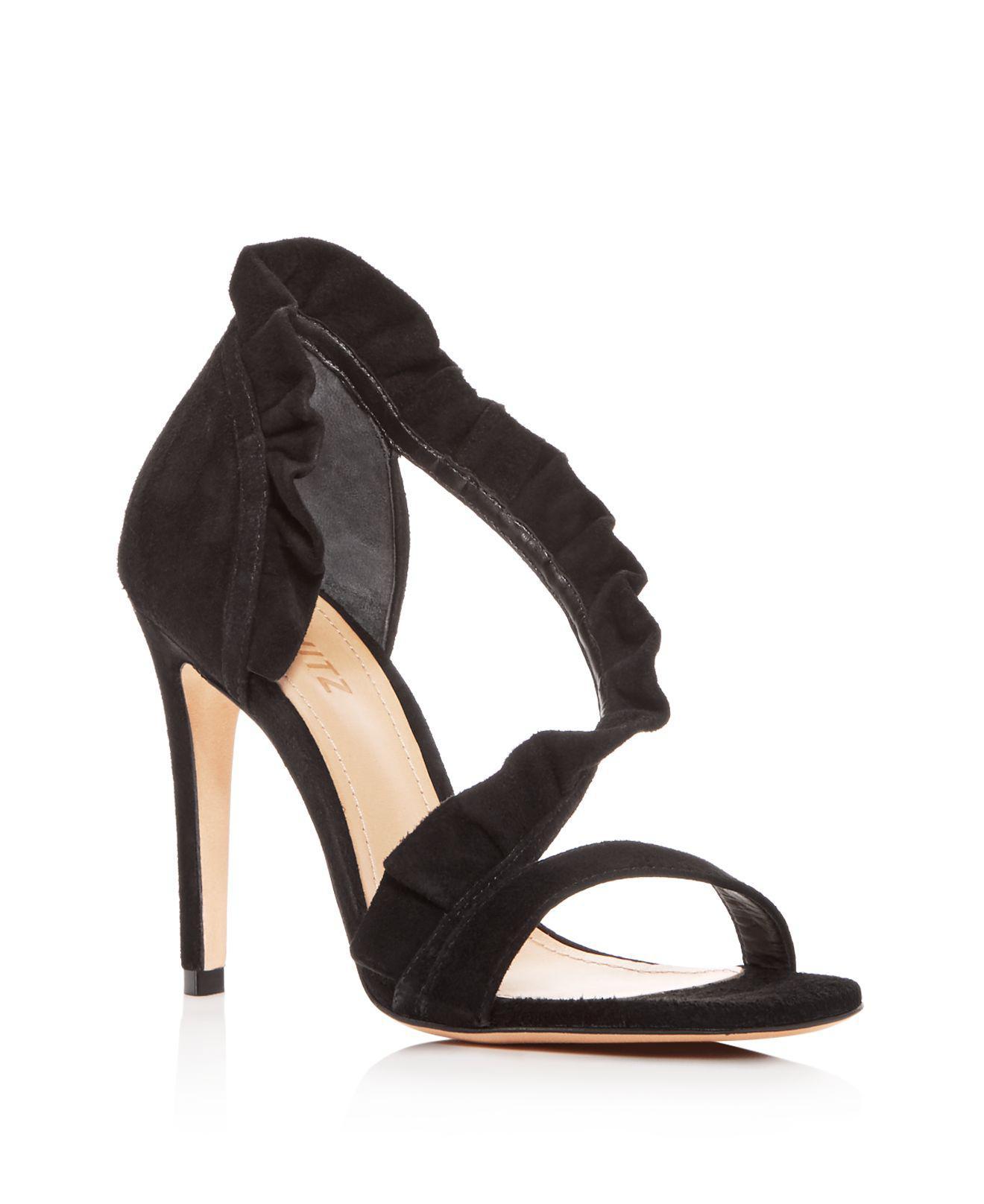 Schutz Women's Aime Ruffled Suede High-Heel Sandals PLXQSq
