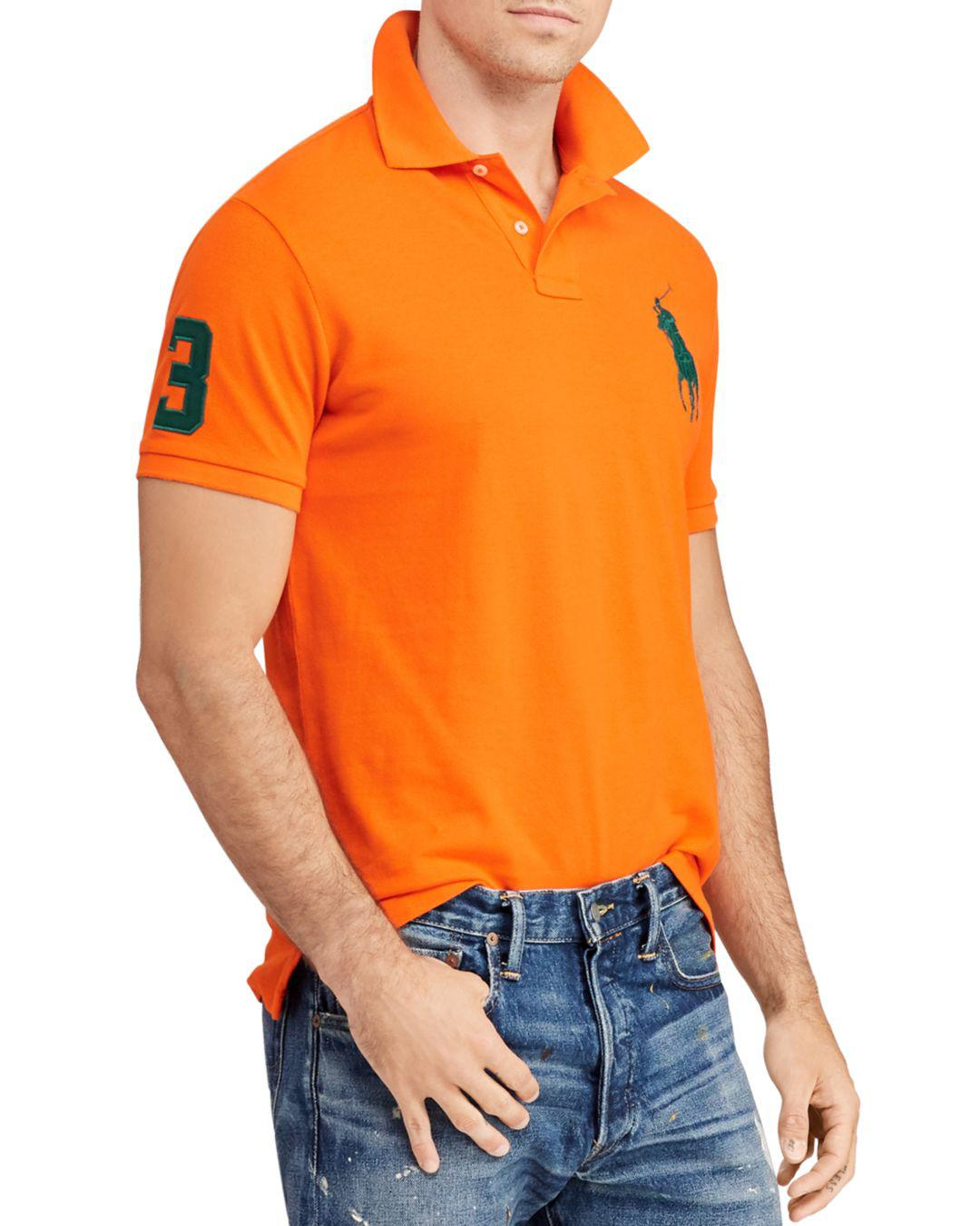 03a16ea512 Lyst - Polo Ralph Lauren Mesh Custom Slim Fit Polo Shirt in Orange ...