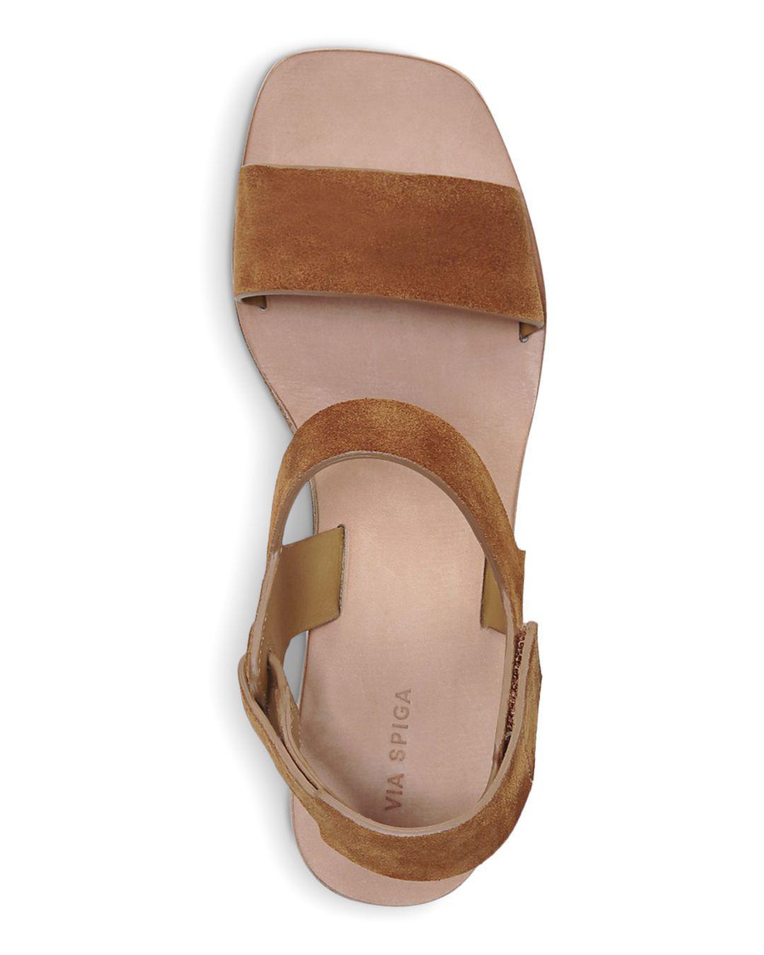 7272d8fc388 Via Spiga - Brown Women s Kamille Suede Block Heel Ankle Strap Sandals -  Lyst. View fullscreen
