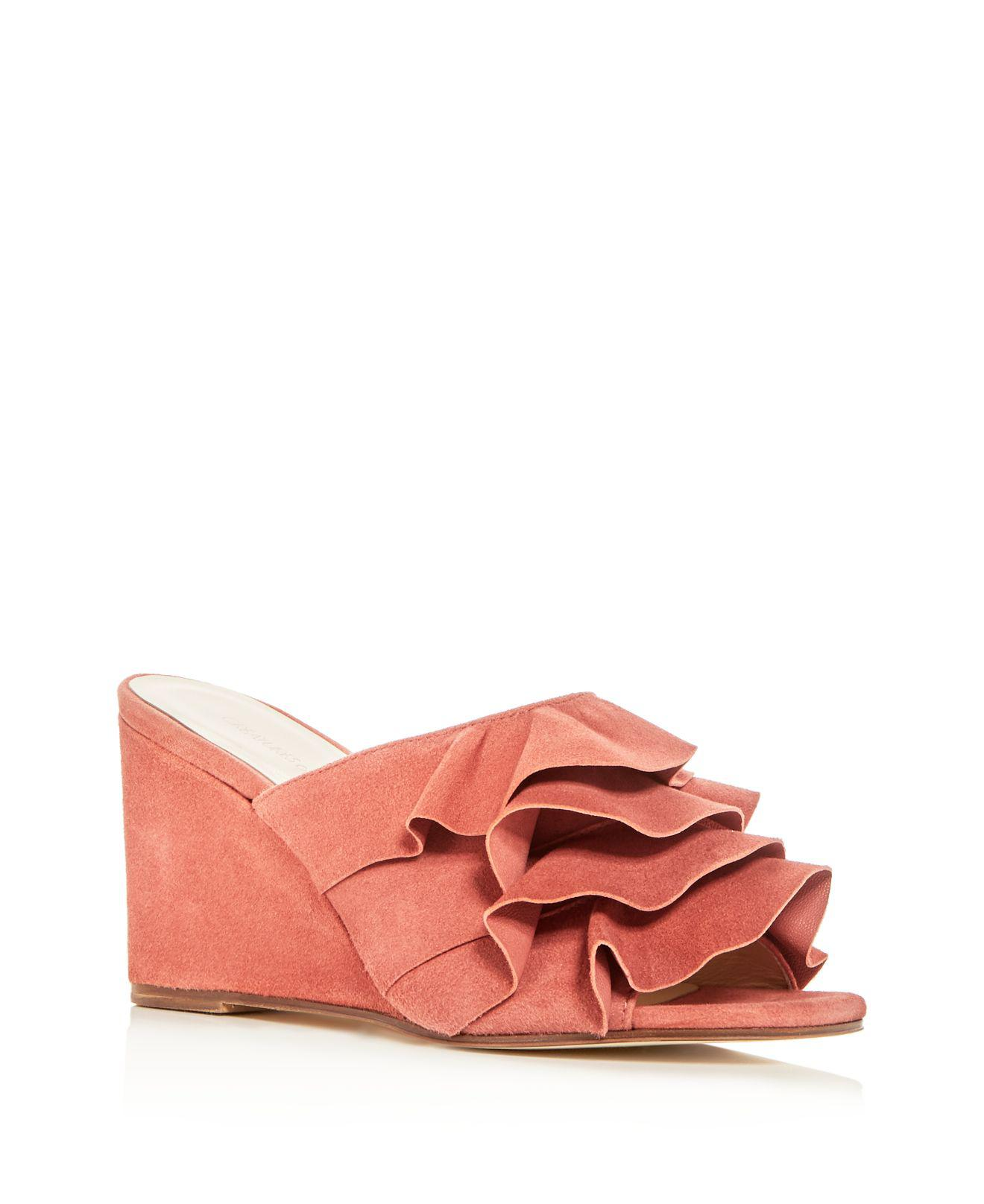 CREATURES OF COMFORT Women's Keira Ruffled Suede Wedge Slide Sandals ogUMDddLh