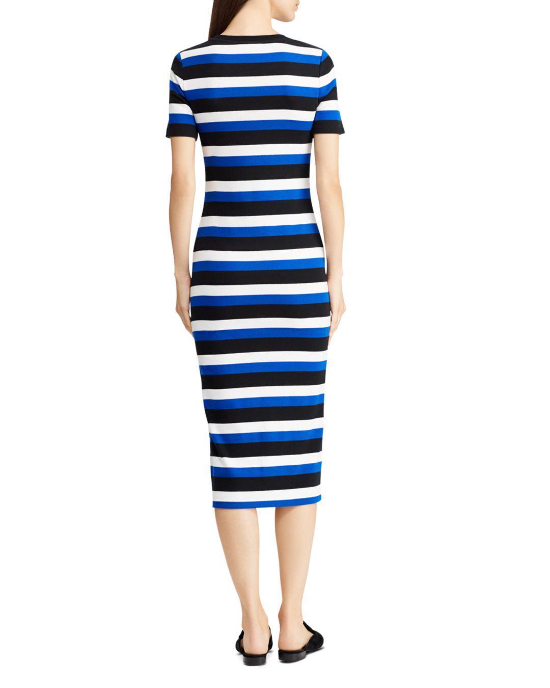 b47dc746fa0 Lyst - Ralph Lauren Lauren Stripe Midi Dress in Black