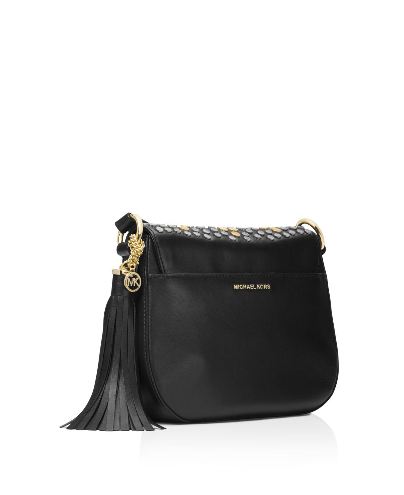 c58f2bcb315c MICHAEL Michael Kors Jenkins Stud Brooklyn Medium Saddle Bag in ...