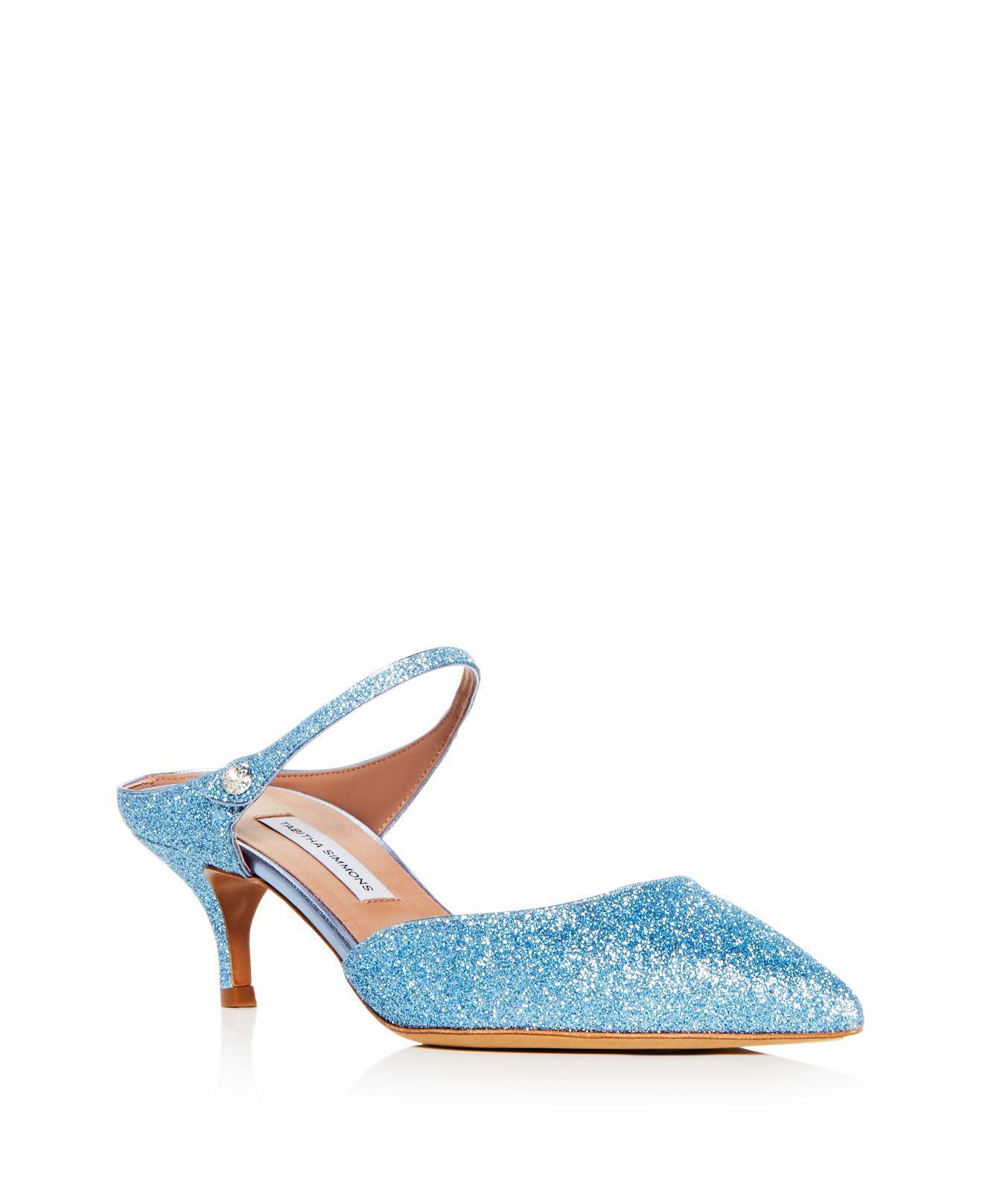 Tabitha Simmons Women's Liberty Glitter Pointed Toe Kitten Heel Mules IBOTb6xt