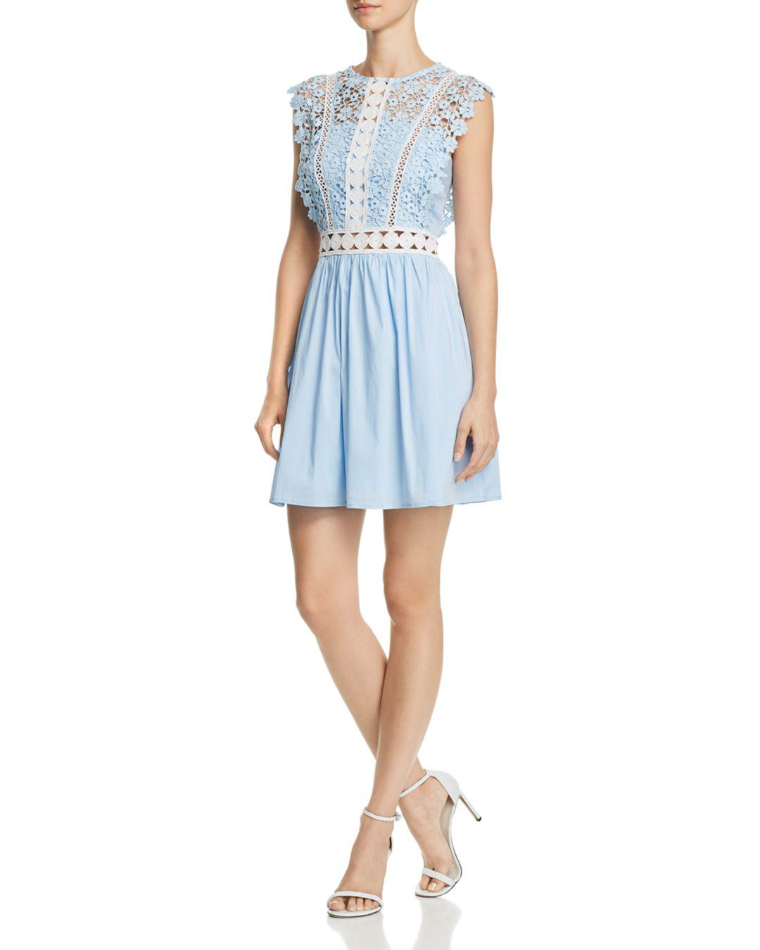 3fa6b594a0c Aqua Lace   Poplin Fit-and-flare Dress in Blue - Lyst