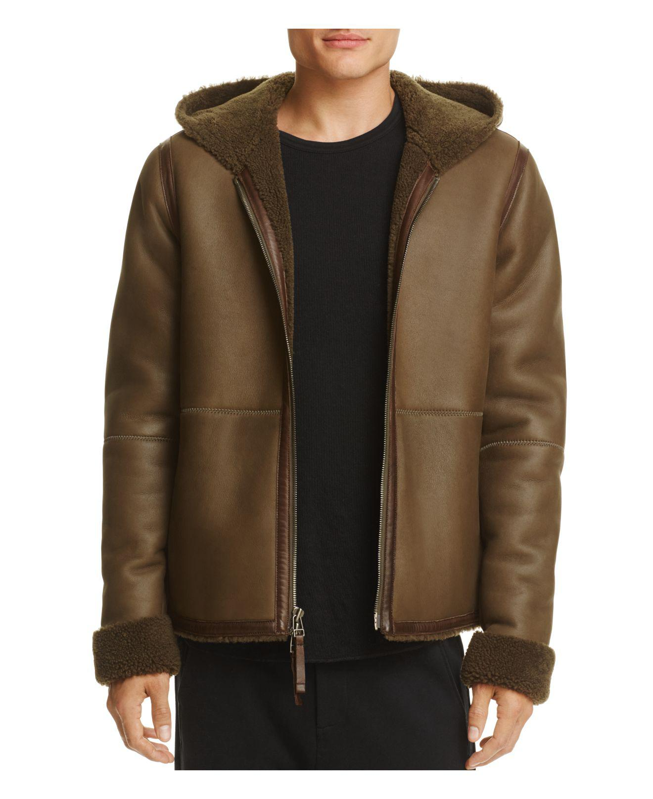 Lyst Vince Hooded Shearling Jacket In Green For Men