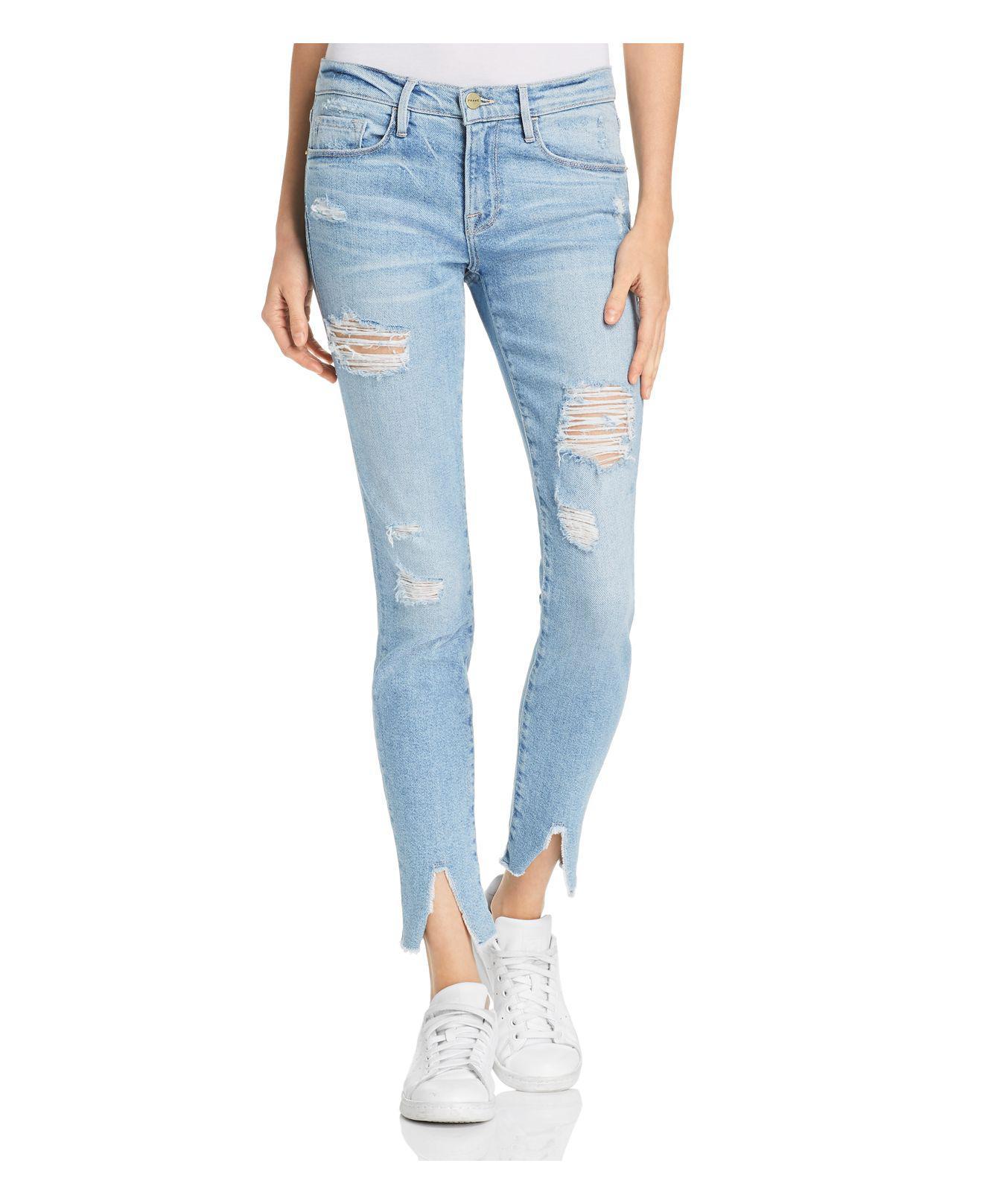 FRAME. Women's Blue Le Skinny De Jeanne Split Hem Skinny Jeans ...