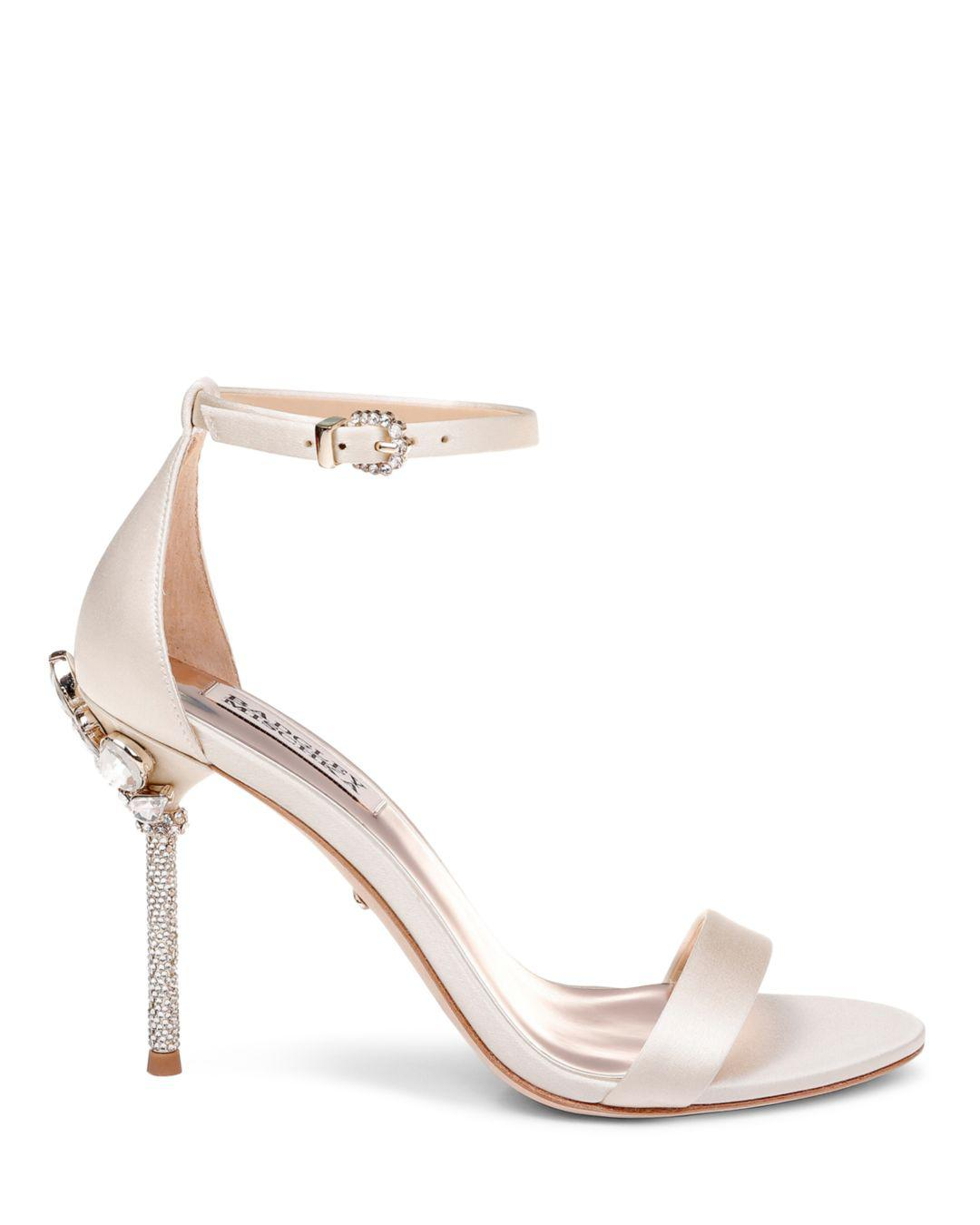 91a219e74cb Lyst - Badgley Mischka Women s Vicia Embellished Satin High-heel Sandals in  White