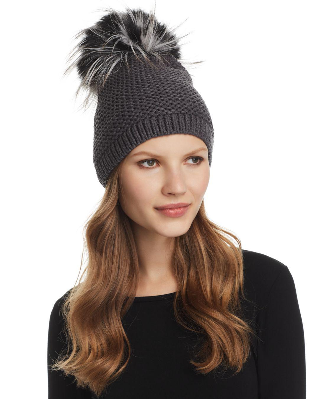 fe5a741fbc001 Kyi Kyi Slouchy Hat With Fox Fur Pom-pom in Gray - Lyst