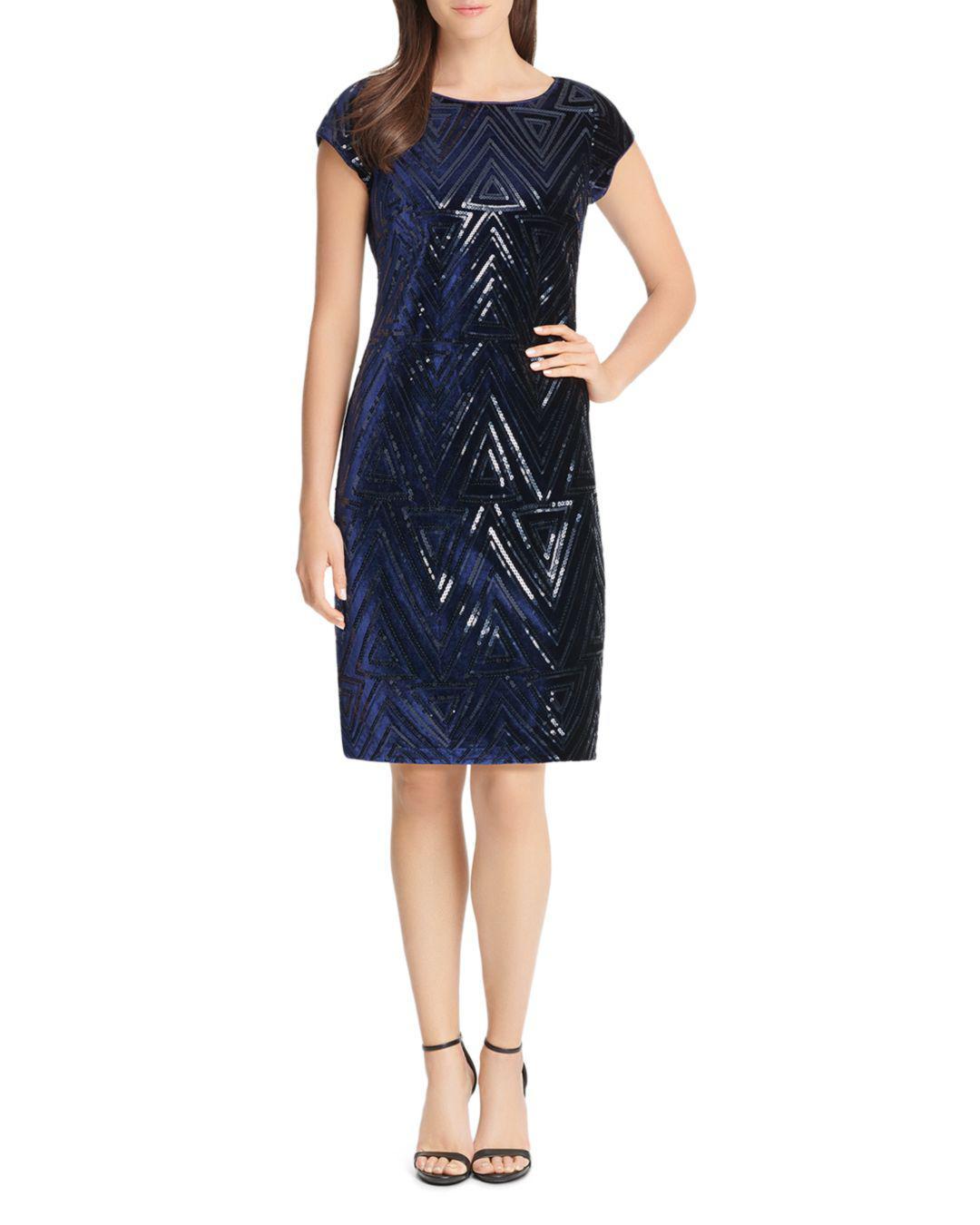 55f636fe0ec7 Lyst - Eliza J Sequined Velvet Shift Dress in Blue