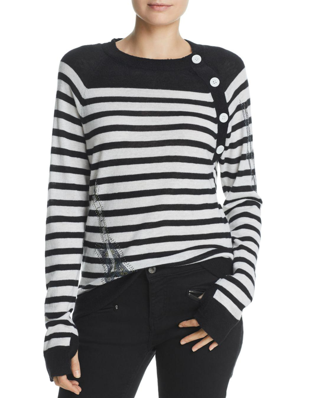 5044bcc6dfb8c4 Zadig & Voltaire Reglis Bis Striped Cashmere Sweater in Black - Save ...