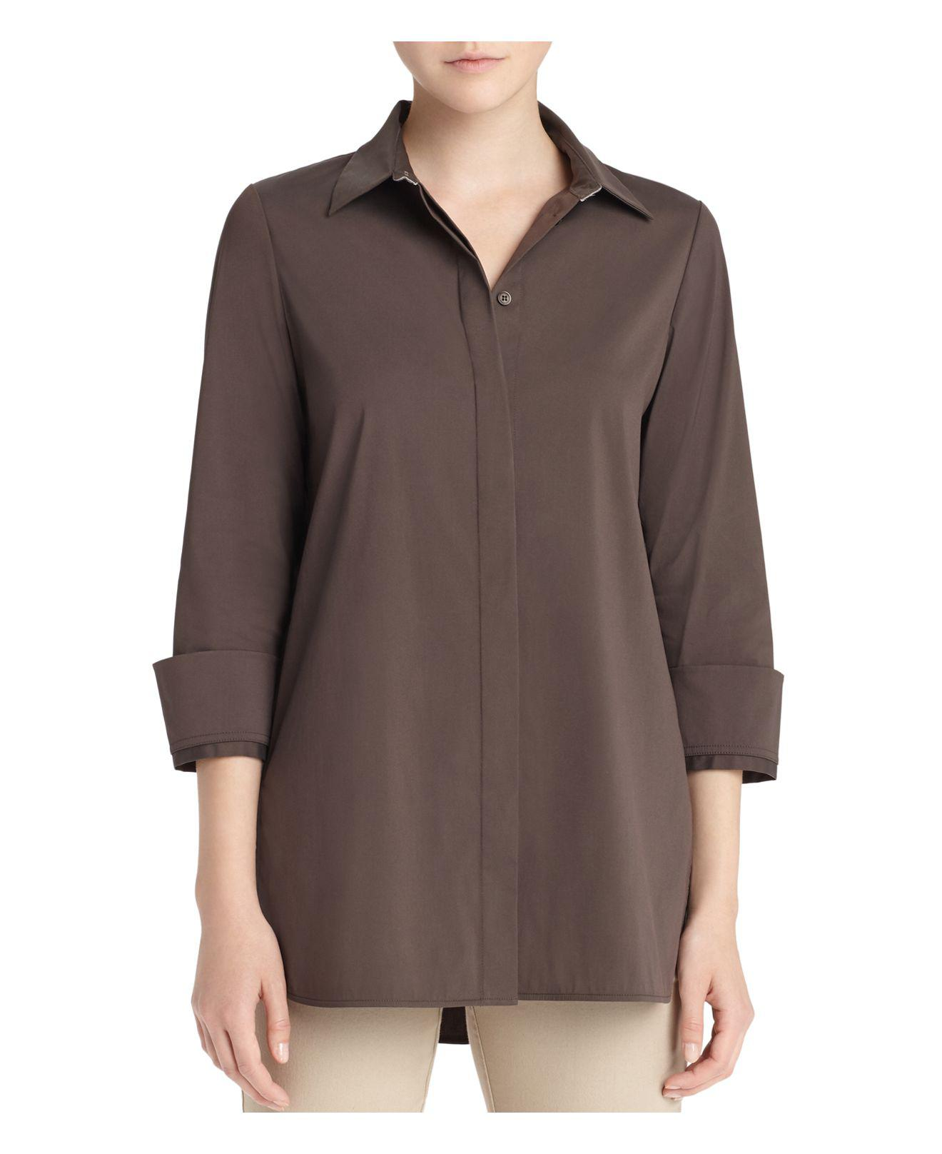 Lafayette 148 new york augusta collar detail shirt in for New york and company dress shirts