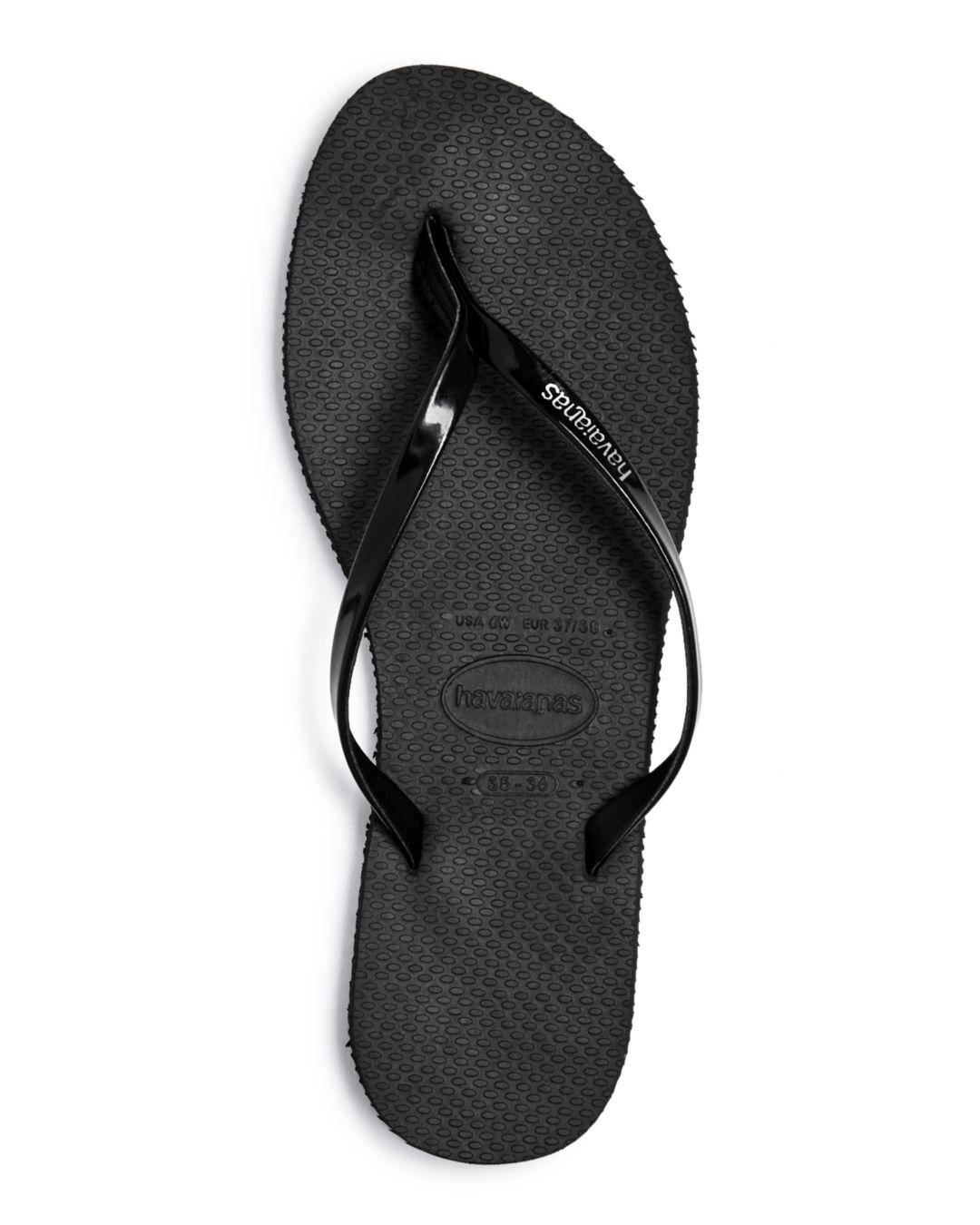 43e59453c Havaianas Women s You Metallic Slim Flip-flops in Black - Save 6% - Lyst