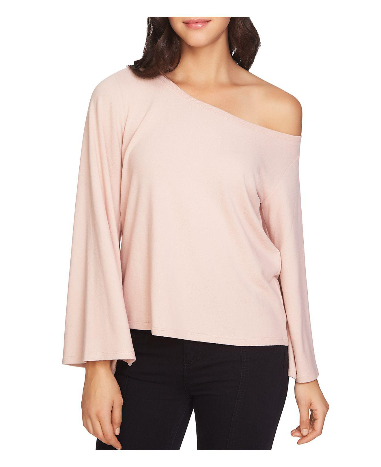 lyst 1 state one shoulder bell sleeve sweater in pink. Black Bedroom Furniture Sets. Home Design Ideas