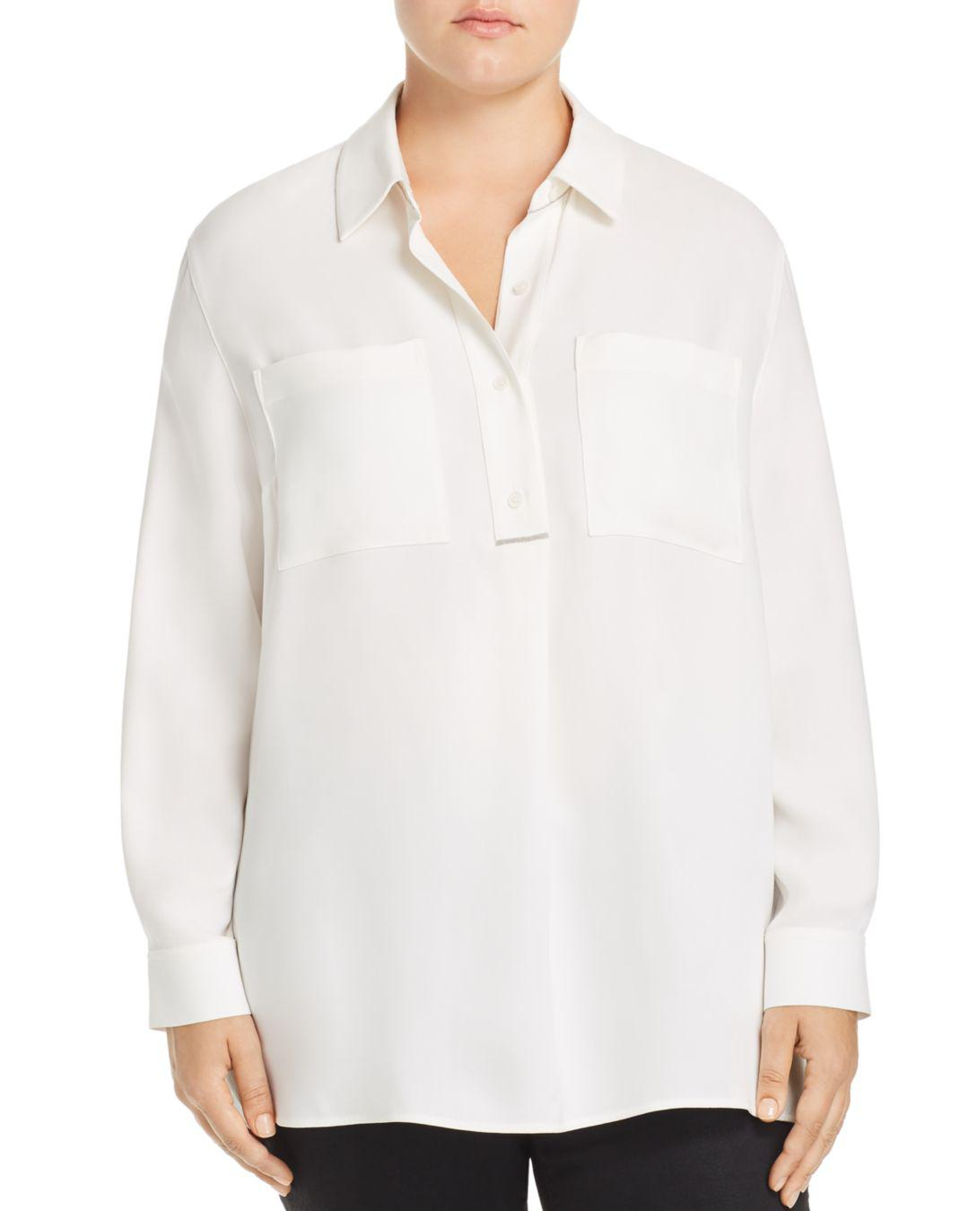 e04cbf091a07c Lyst - Lafayette 148 New York Prianka Silk Blouse in White