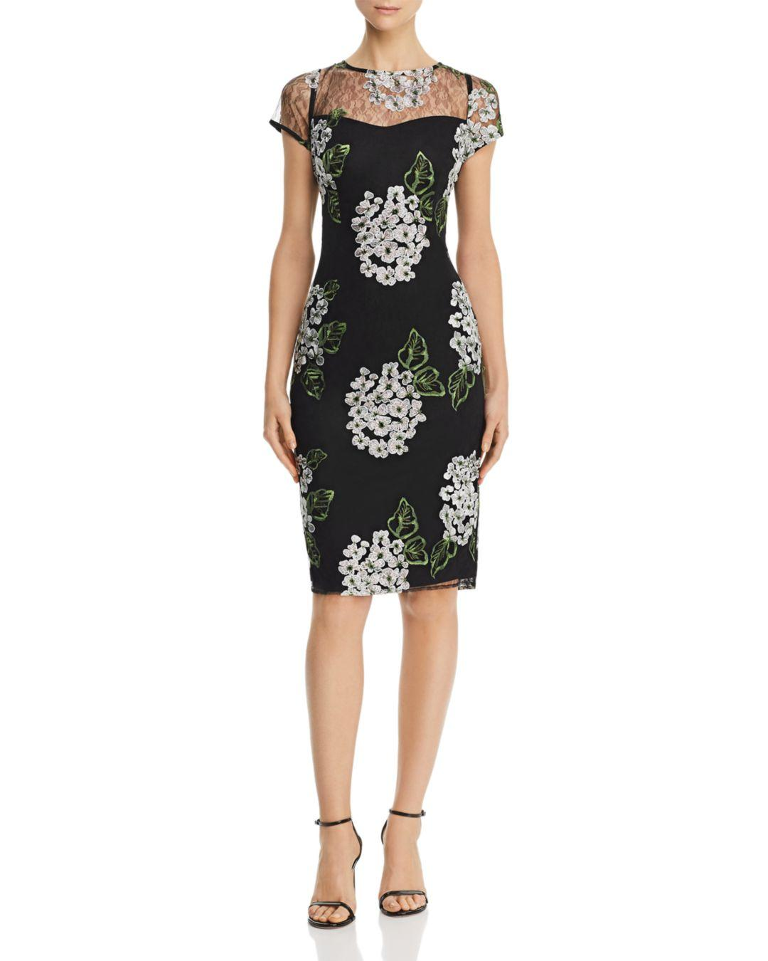 b1c6c89ec243 Lyst - Adrianna Papell Floral-embroidered Sheath Dress in Black