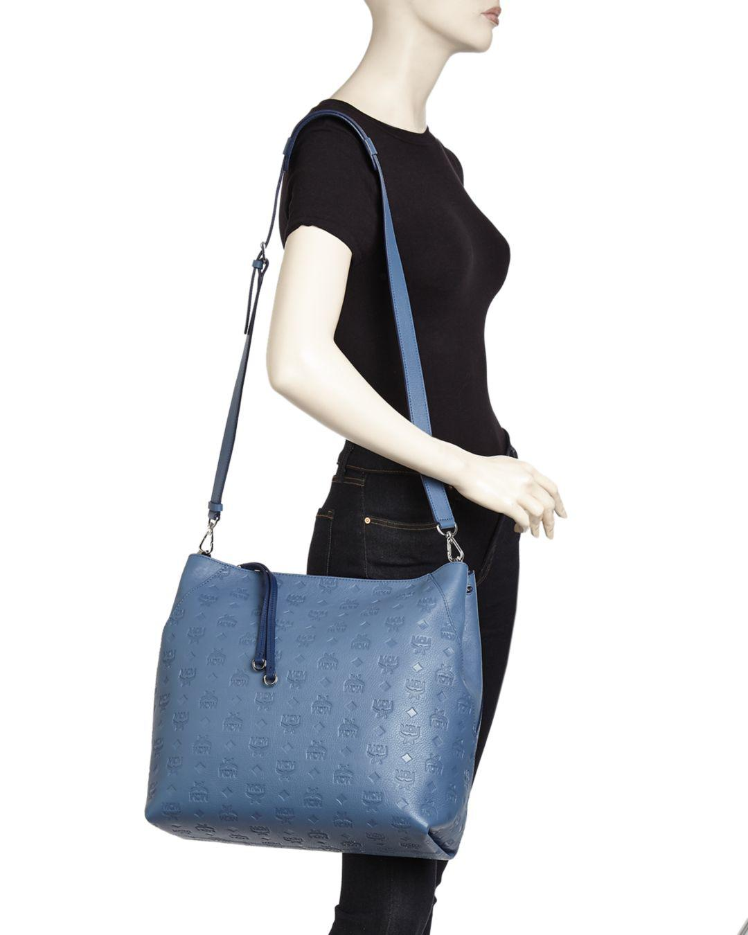 14e70f092b2f Lyst - MCM Klara Monogram Large Leather Hobo in Blue