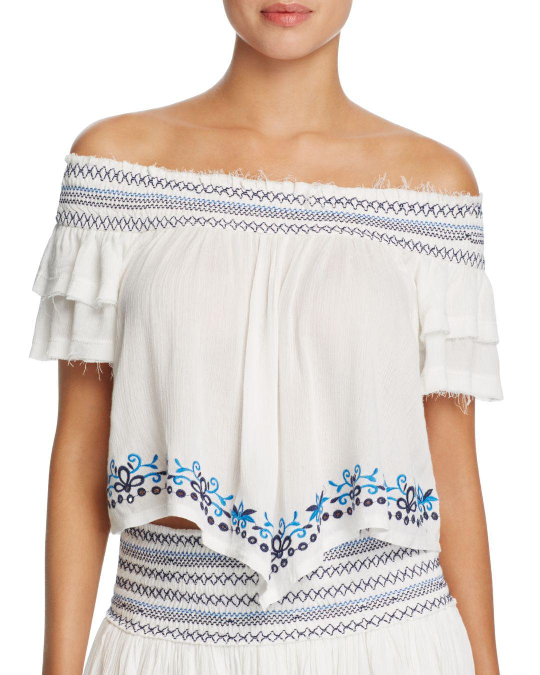 c2d6786fd4de1 Lyst - Surf Gypsy Embroidered Off-the-shoulder Top Swim Cover-up in ...