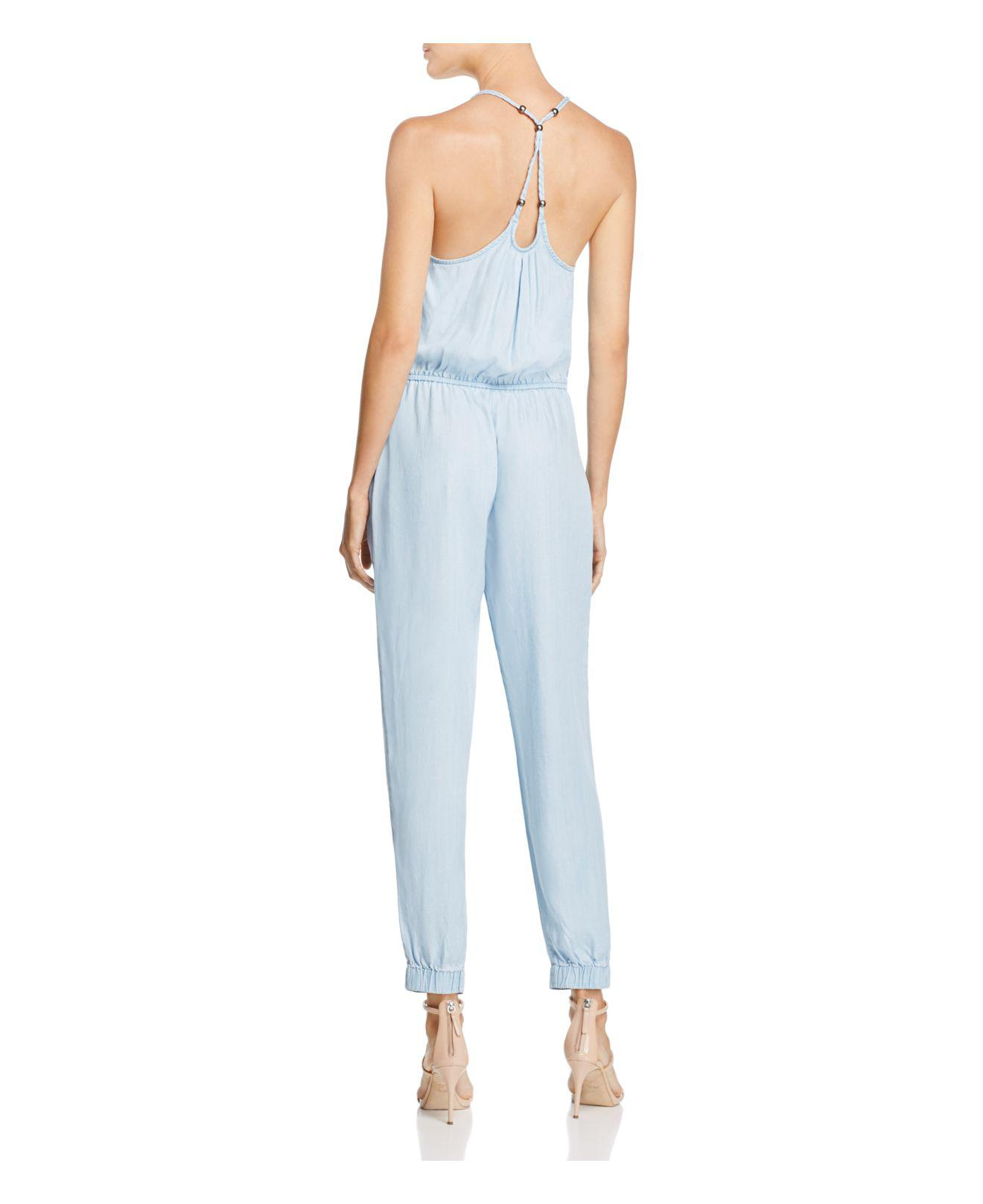 b3d1af27469 Lyst - Guess Chambray Jumpsuit in Blue