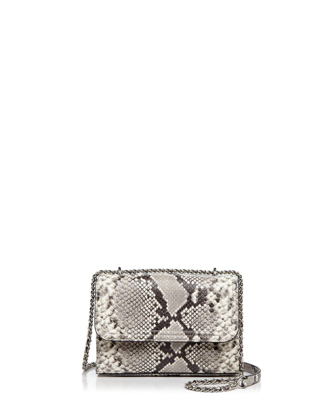 3b928e5a472 Lyst - Tory Burch Fleming Snakeskin Embossed Leather Small ...