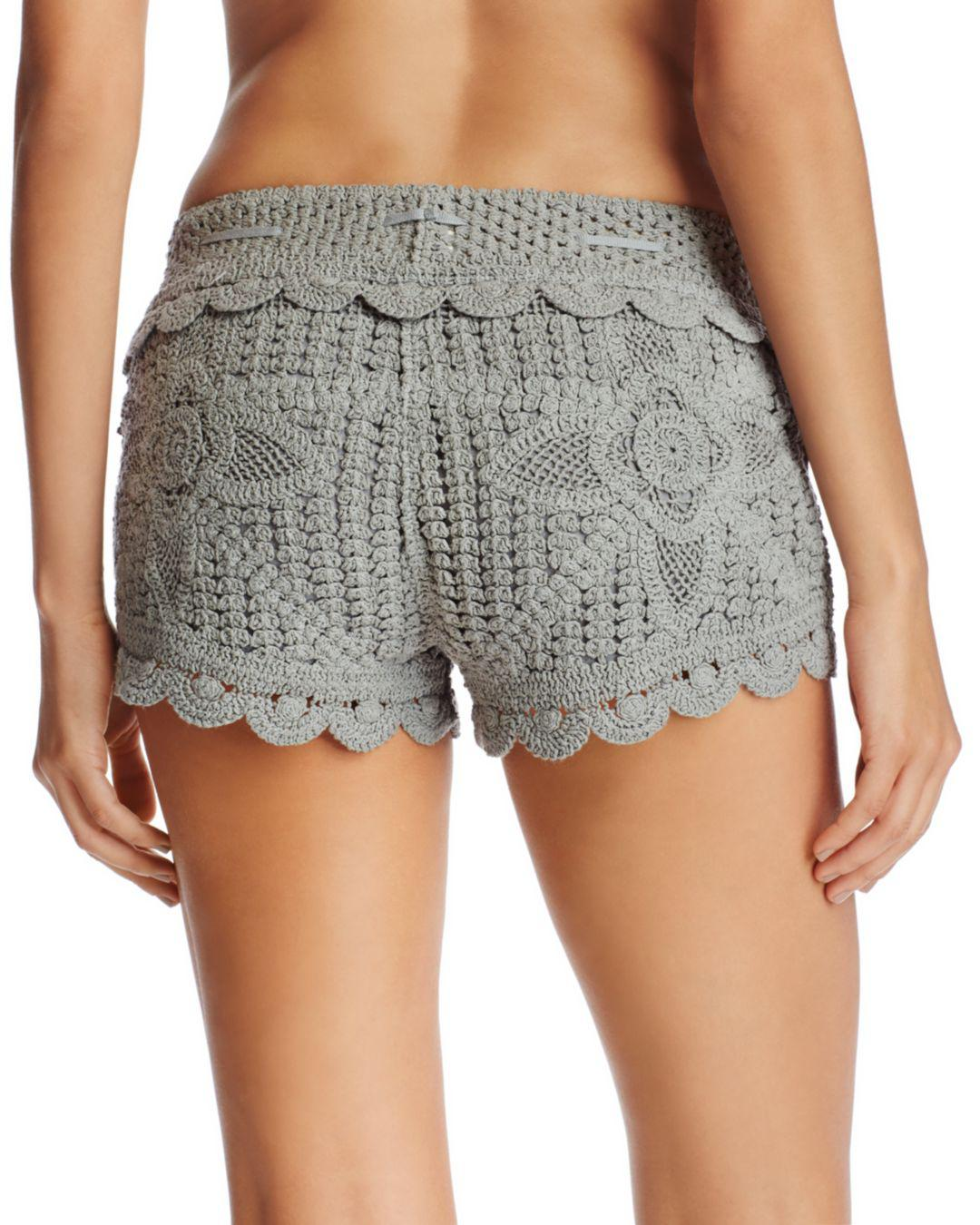 33c67dcc4ff07 Lyst - Surf Gypsy Crochet Swim Cover-up Shorts in Gray