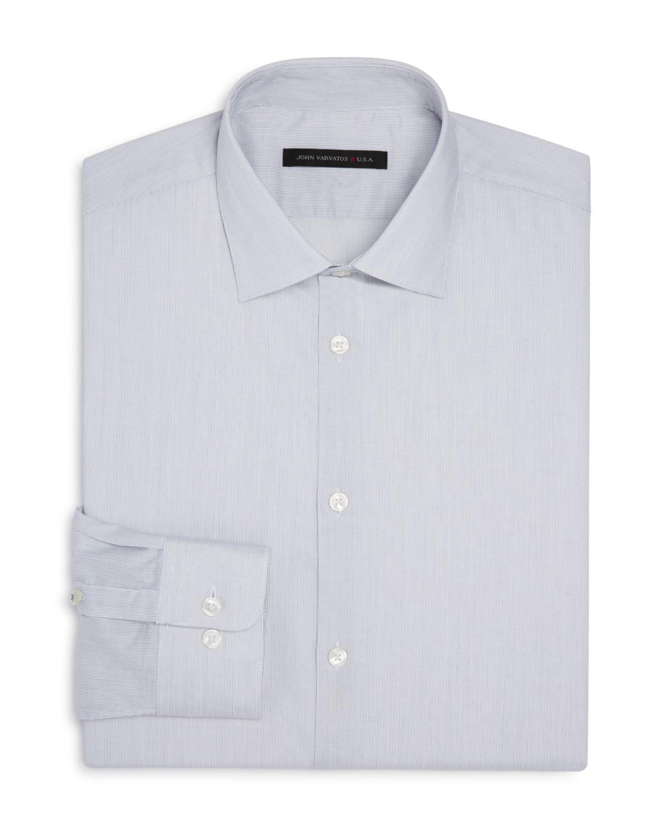 John varvatos micro stripe slim fit stretch dress shirt in for How to stretch a dress shirt