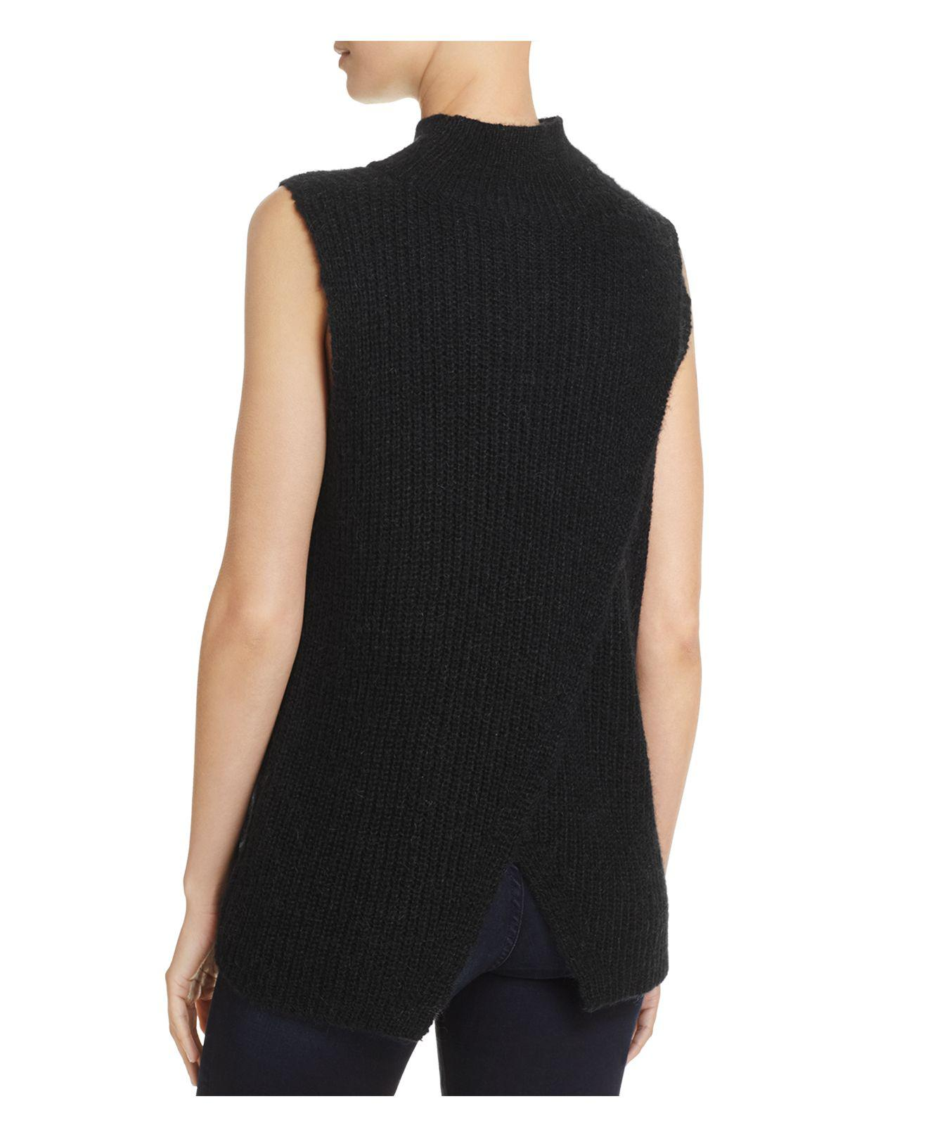French connection Mathilde Knits Ribbed Sweater Vest in Black | Lyst