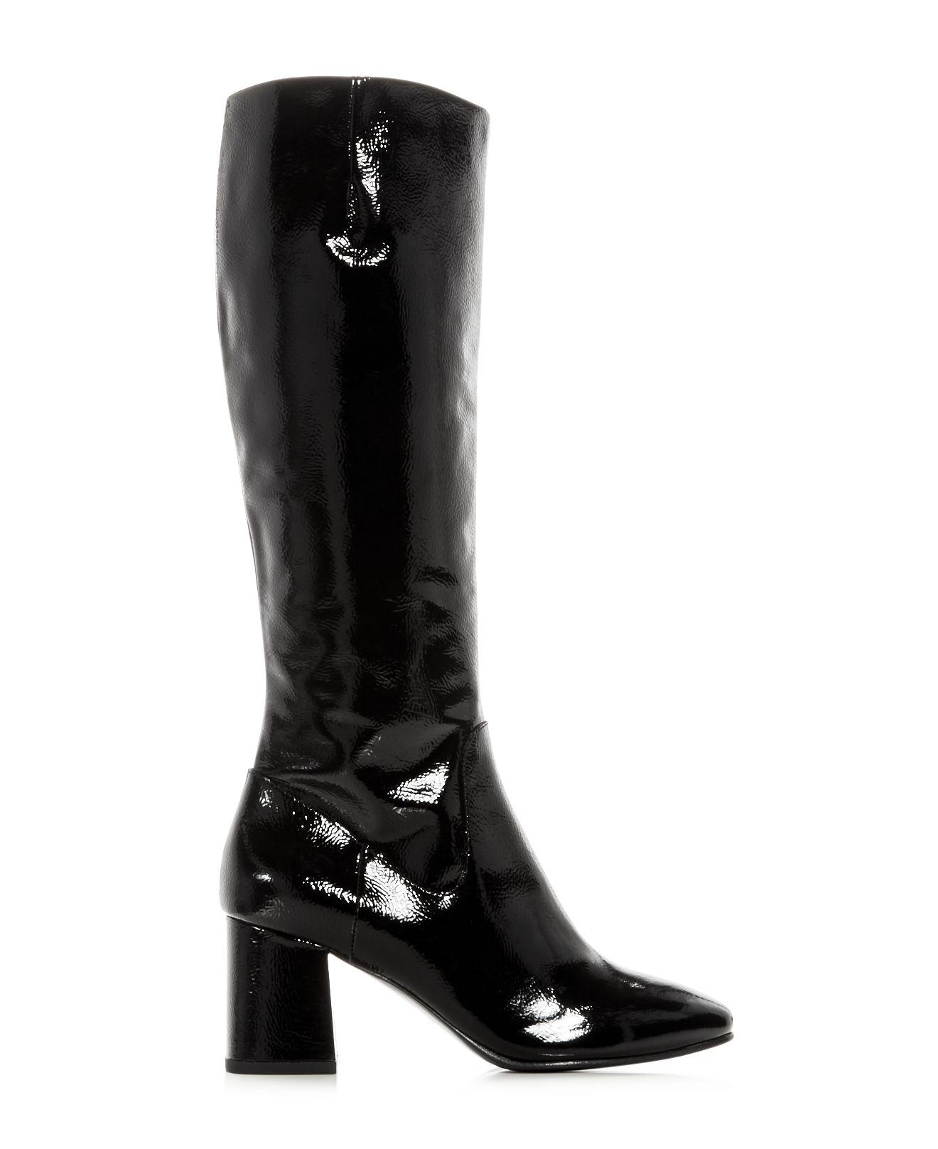 Sale Manchester Fast Express Ash Women's Hley Patent Leather Block Heel Tall Boots r4xcEDCsXP