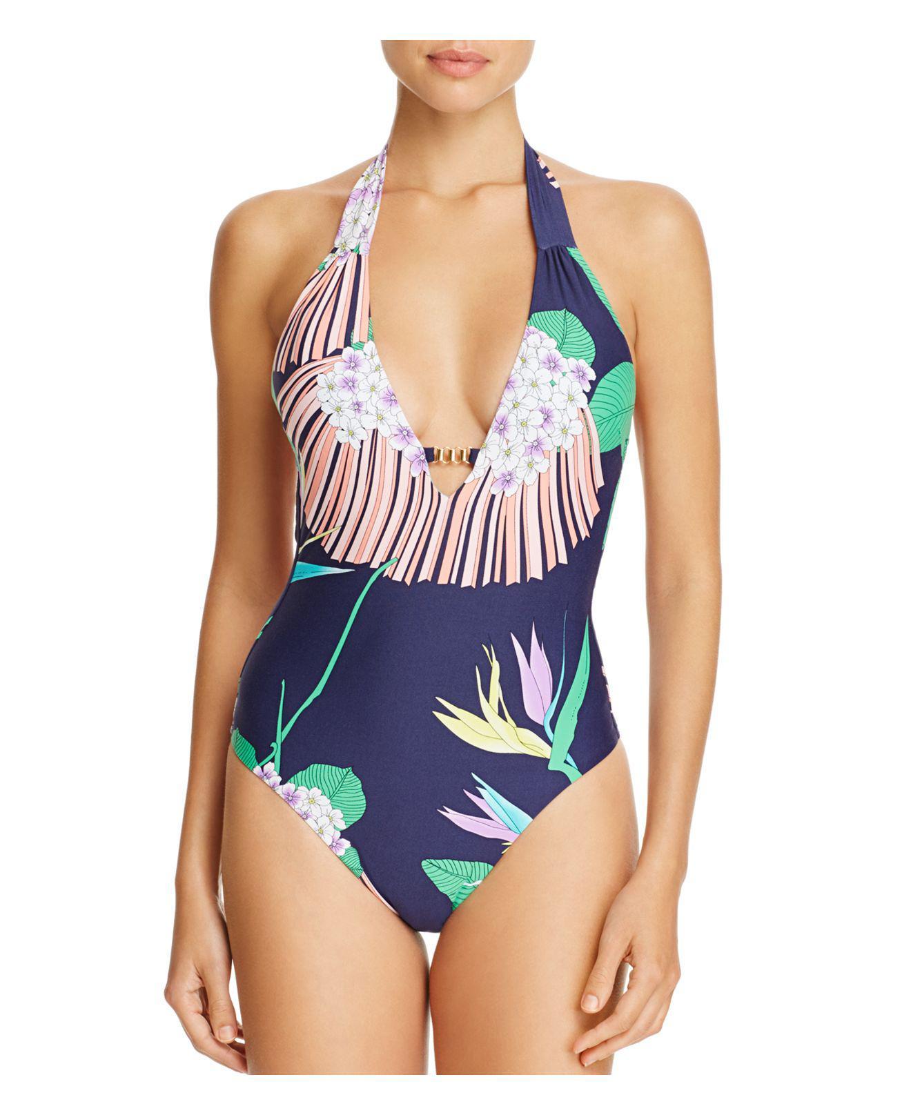 f94edca6d4 Lyst - Trina Turk Midnight Paradise Plunge One Piece Swimsuit in Blue