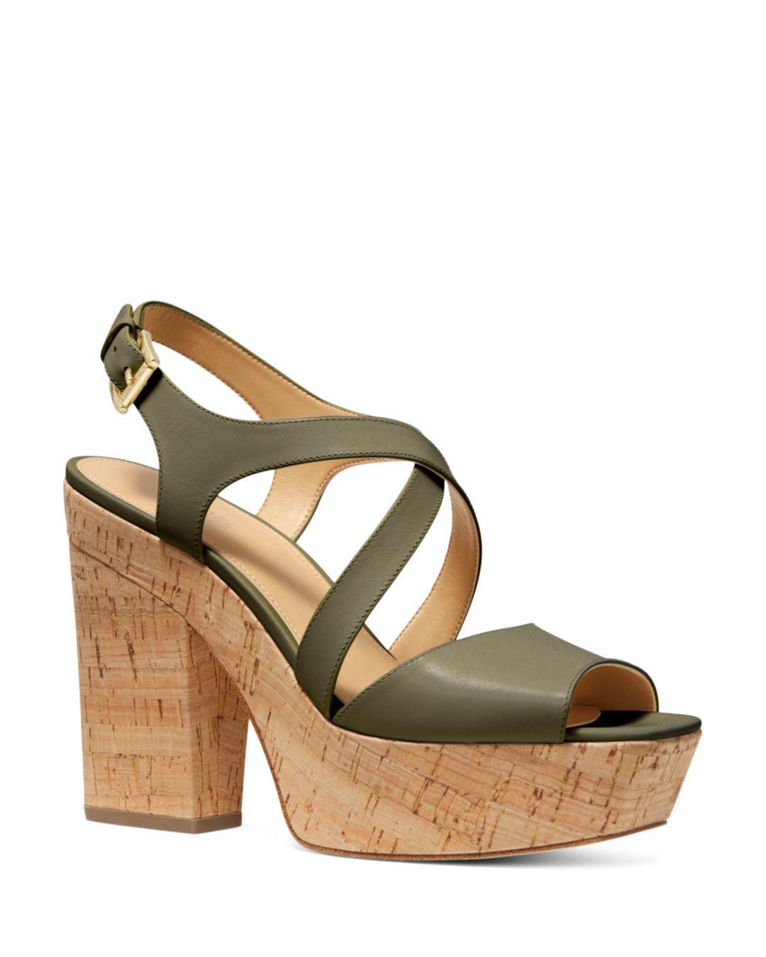 e0cd31f36b806 MICHAEL Michael Kors. Green Women s Abbott Leather Platform Wedge Sandals