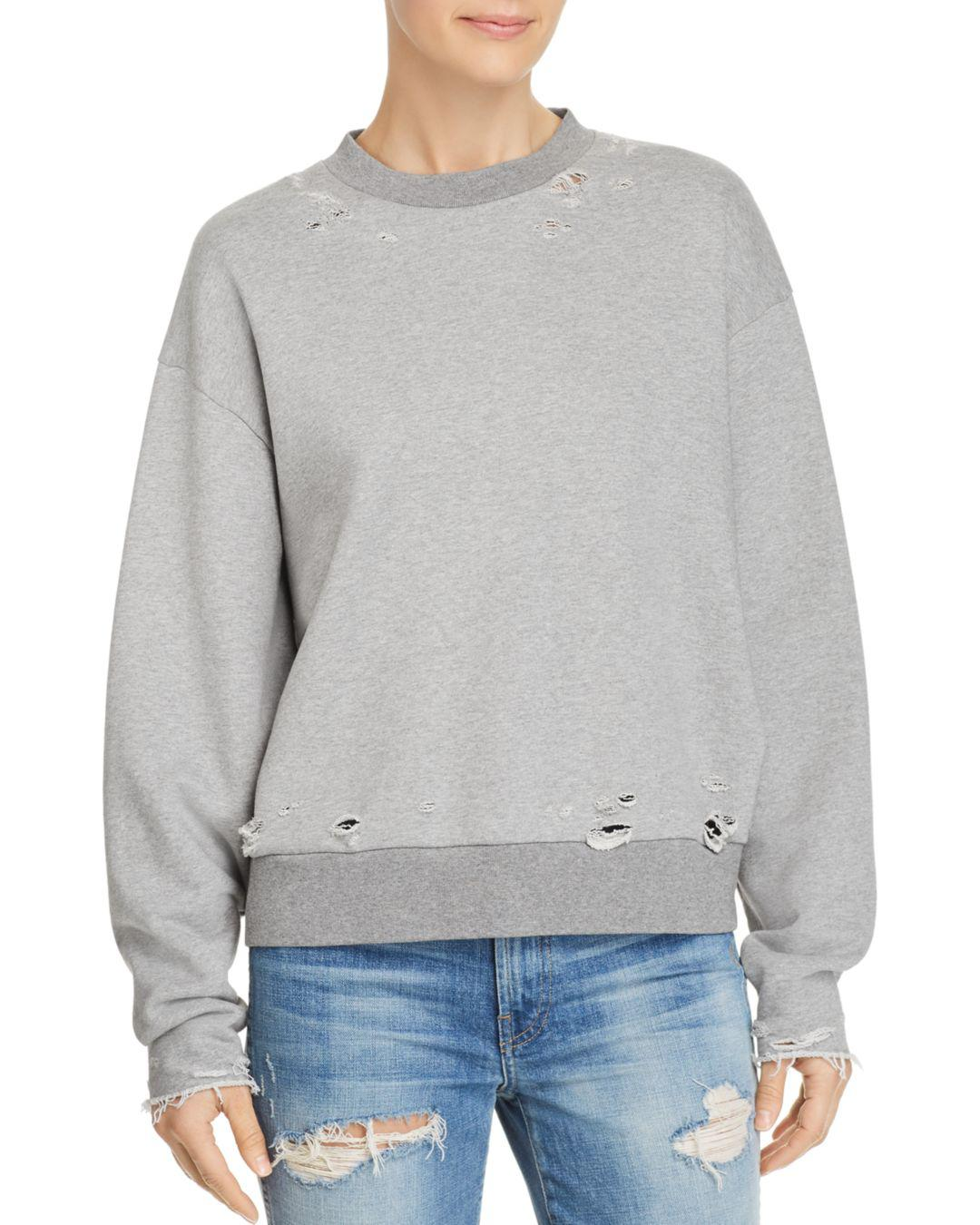 973e9029 Lyst - T By Alexander Wang Distressed French-terry Sweatshirt in Gray