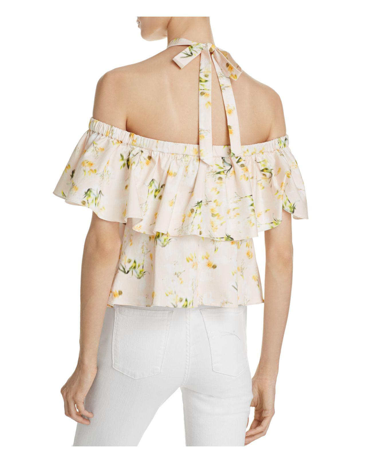 a76a0e40f1728 Lyst - Rebecca Taylor Off-the-shoulder Firefly Top in Natural
