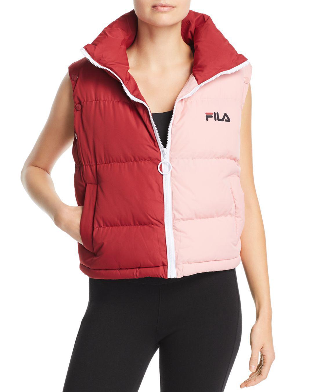 b7dbdd37ef1e Fila Martina Convertible Puffer Jacket in Pink - Lyst