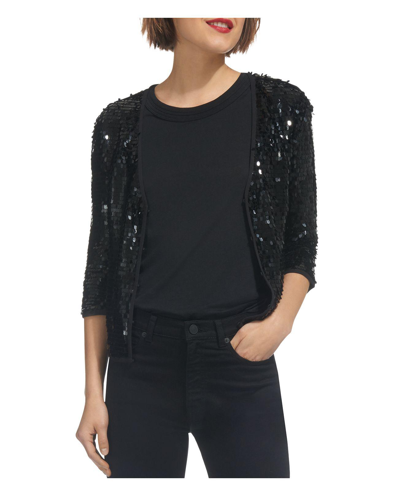 Whistles Sequin-embellished Cardigan in Black | Lyst