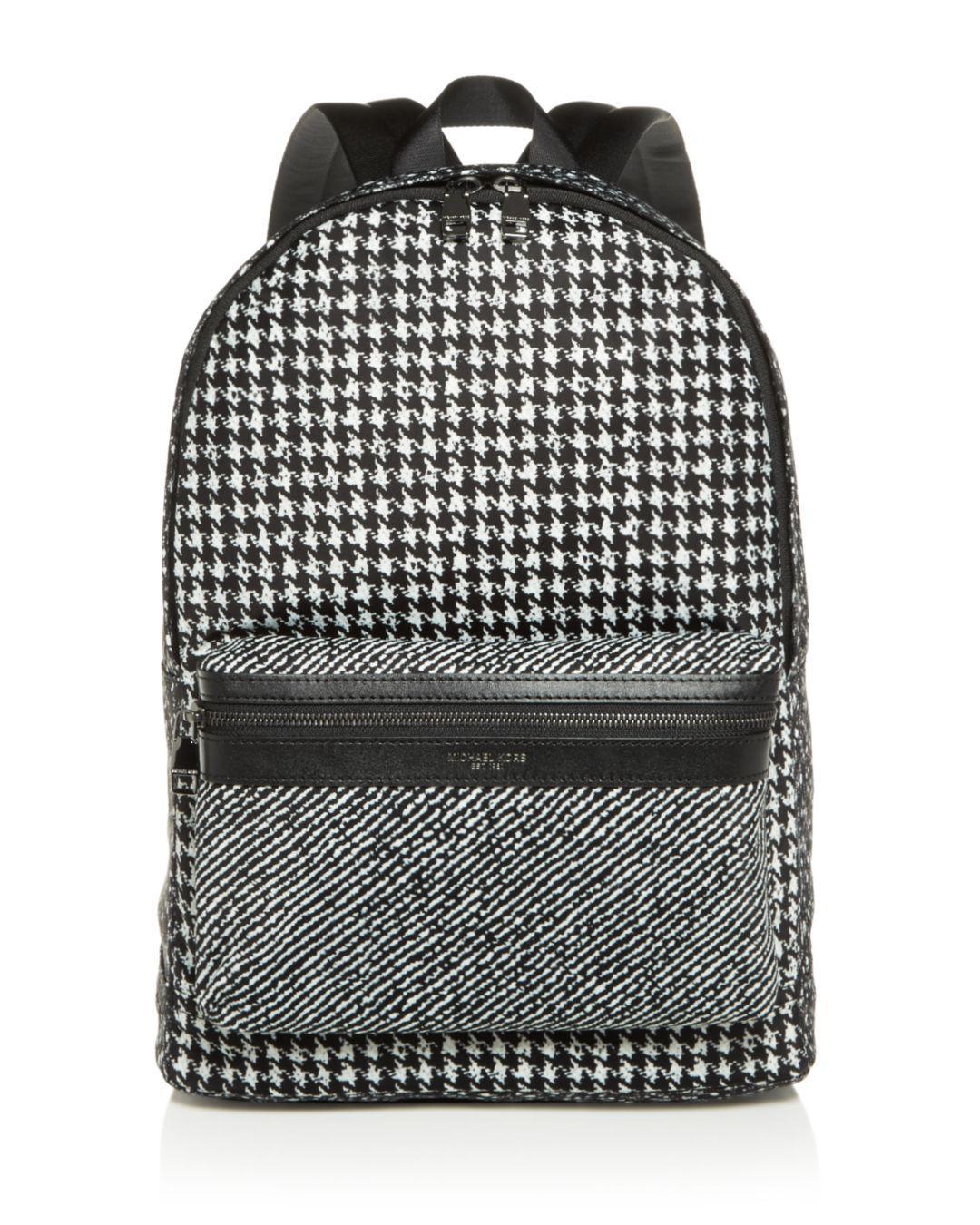 be63a99606 Lyst - Michael Kors Kent Houndstooth Nylon Backpack in Black for Men ...