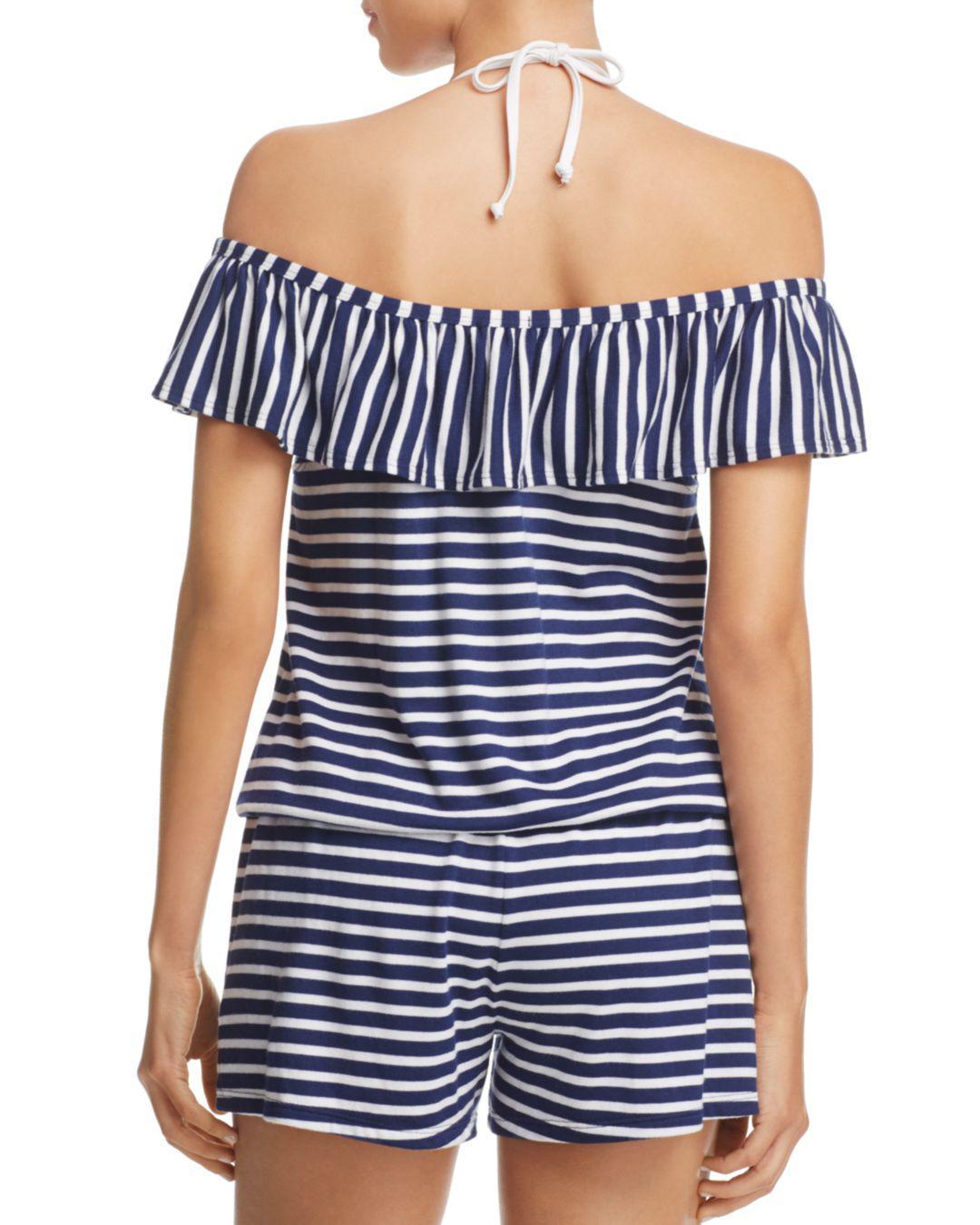 e3622c811f1 Splendid Stripe Covers Romper Swim Cover-up in Blue - Lyst