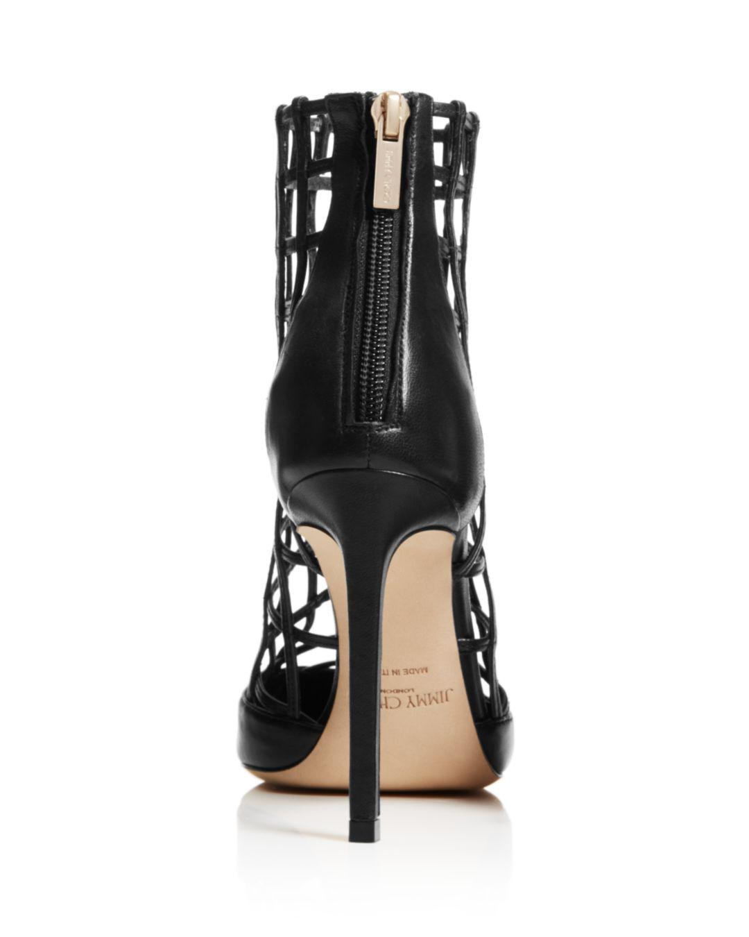 4c1d0490022b Lyst - Jimmy Choo Women s Sheldon 100 Caged Leather High-heel Booties