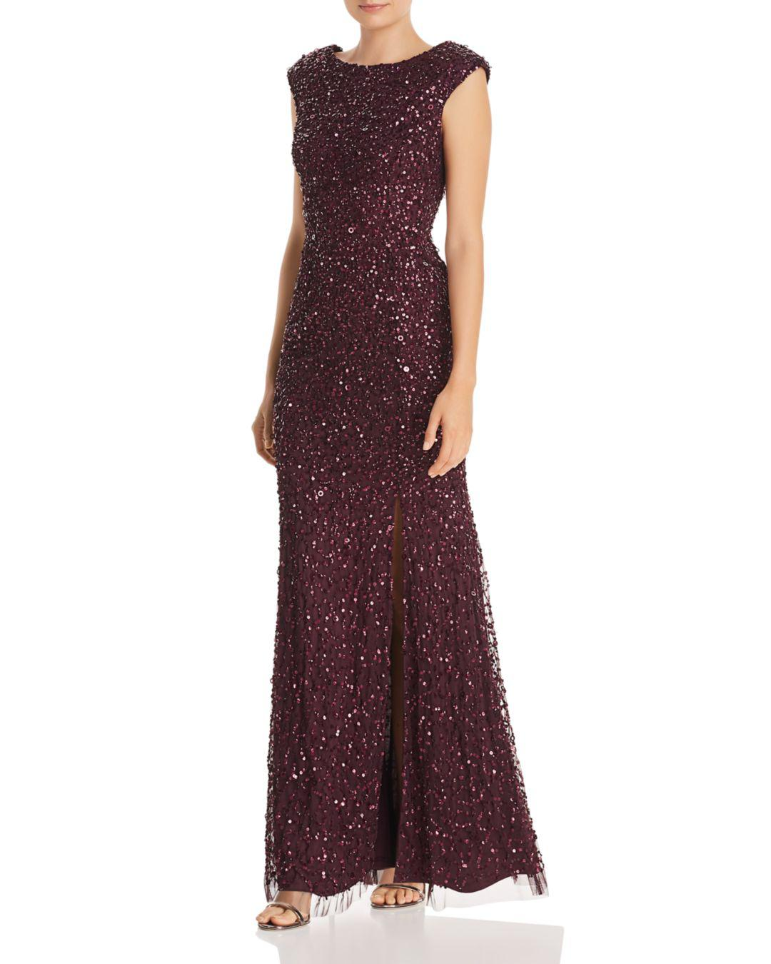 ba19111df4330 Lyst - Adrianna Papell Sequined Cap-sleeve Gown in Purple