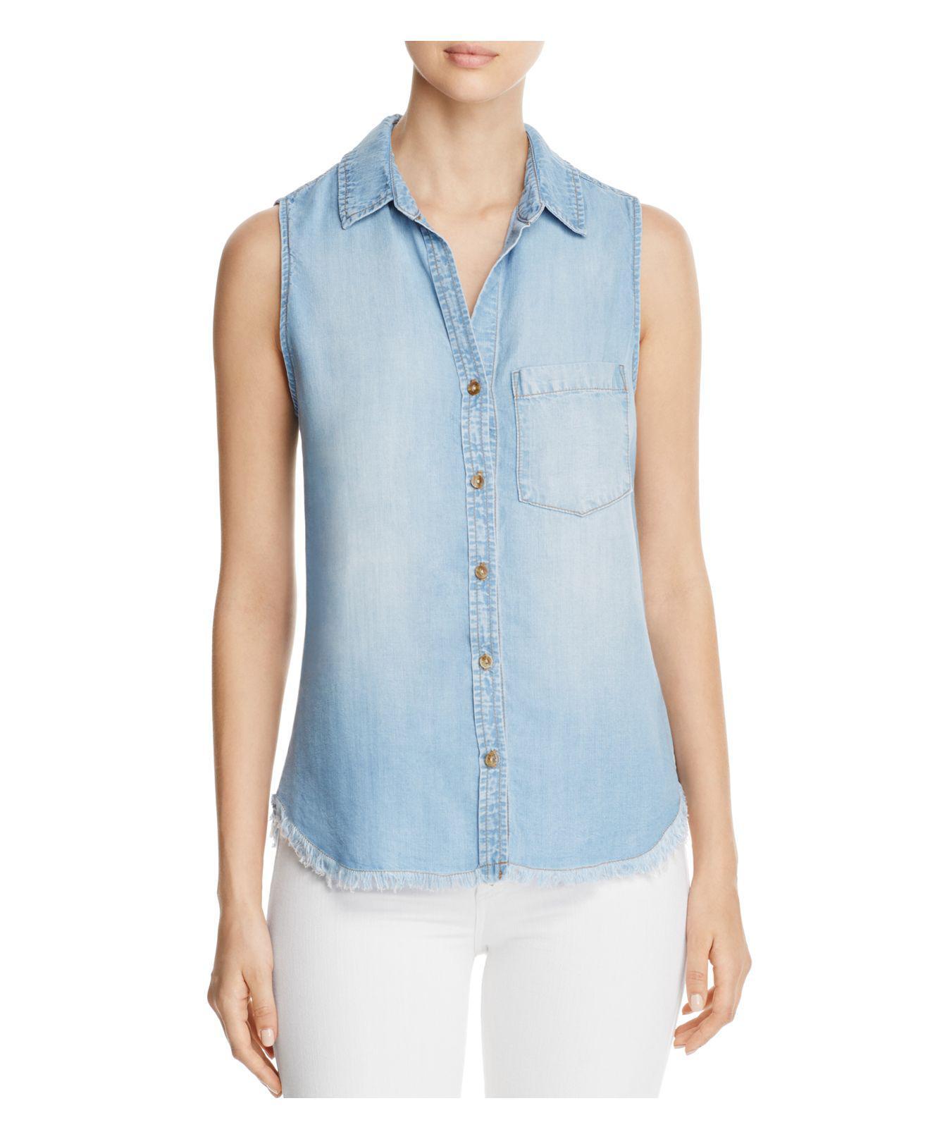 Lyst Side Stitch Frayed Hem Chambray Shirt In Blue