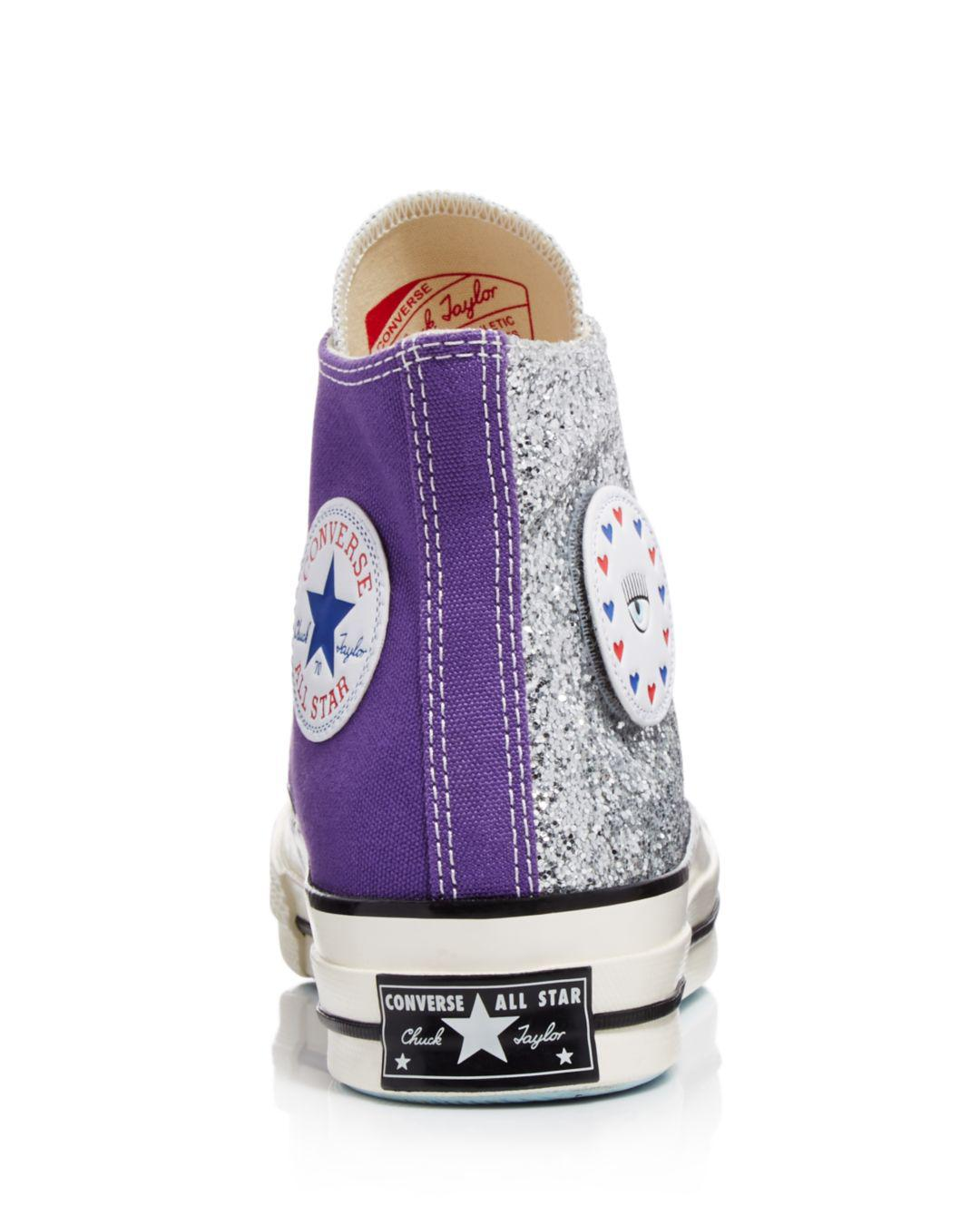 3f55c607e606 Lyst - Converse X Chiara Ferragni Women s Chuck Taylor Tillands Glitter  High Top Sneakers in Purple