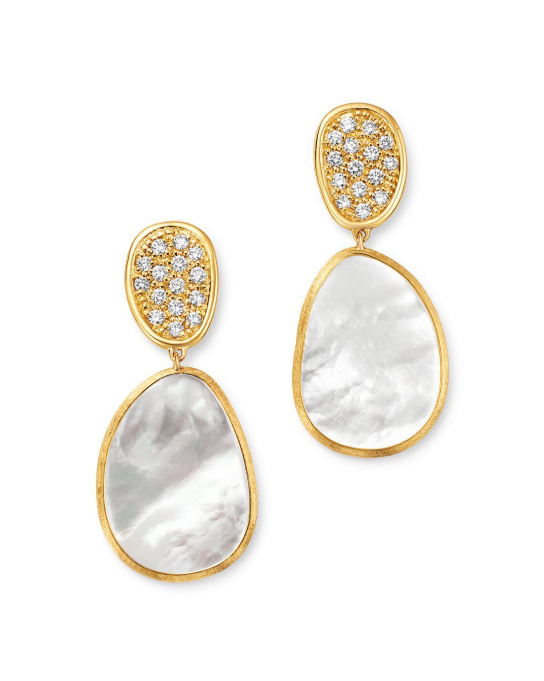 8729288d42c0 Marco Bicego. Women s Metallic 18k Yellow Gold Lunaria Pavé Diamond   Mother  Of Pearl Small Drop Earrings